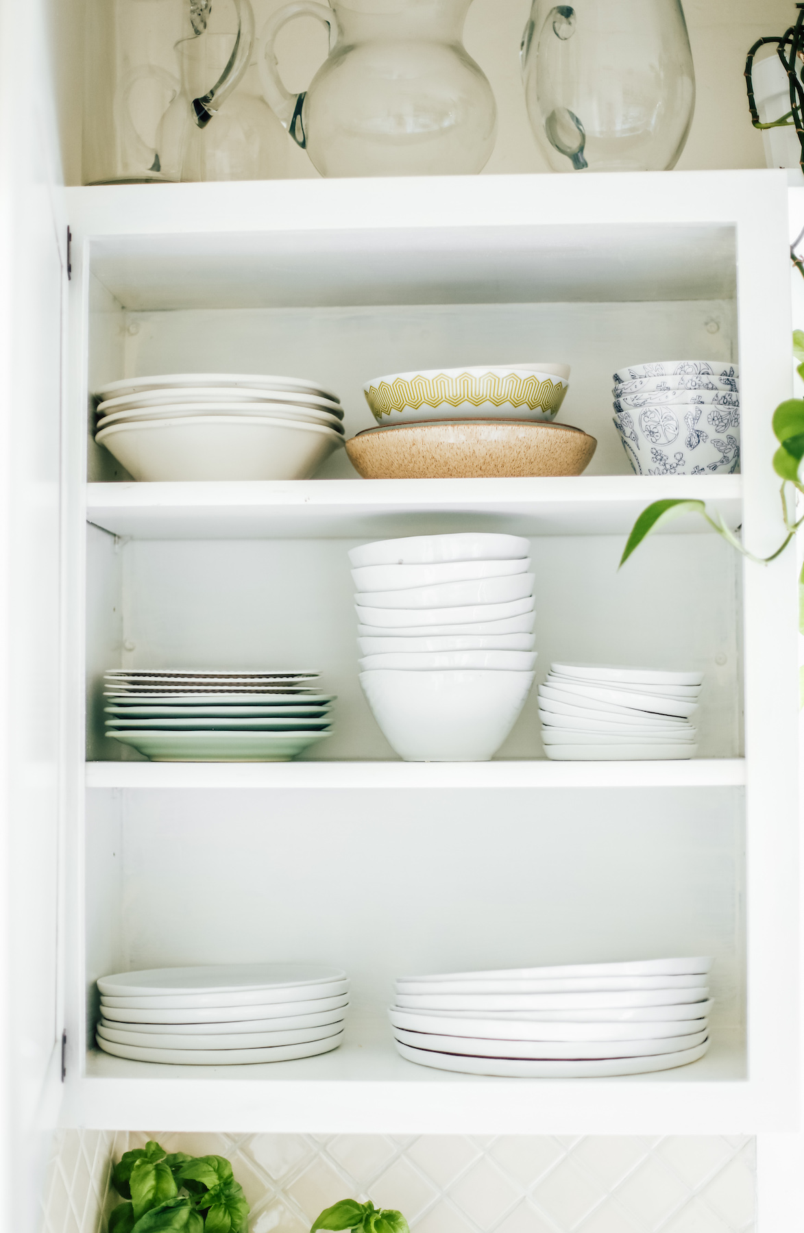 Kitchen Makeover Shelving with dishes