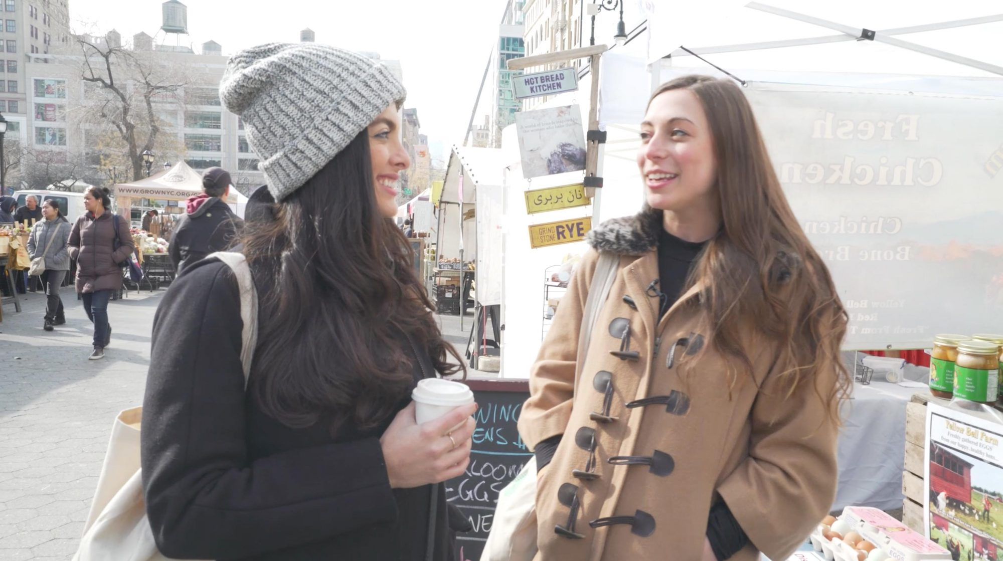 Ananda Eidelstein and Grace Elkus at The Farmer's Market