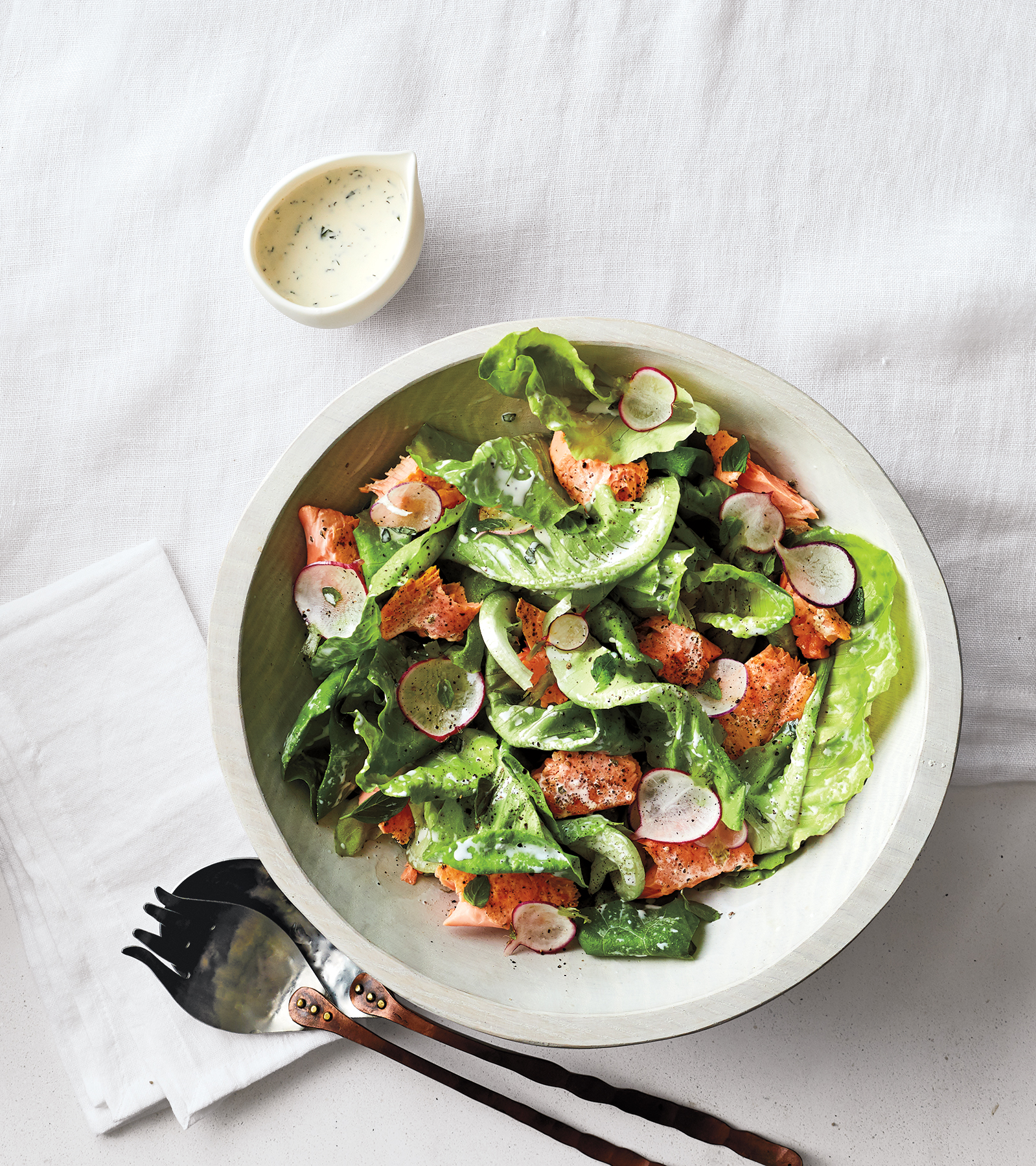 Salmon, Radish, and Bibb Salad With Herby Buttermilk Dressing