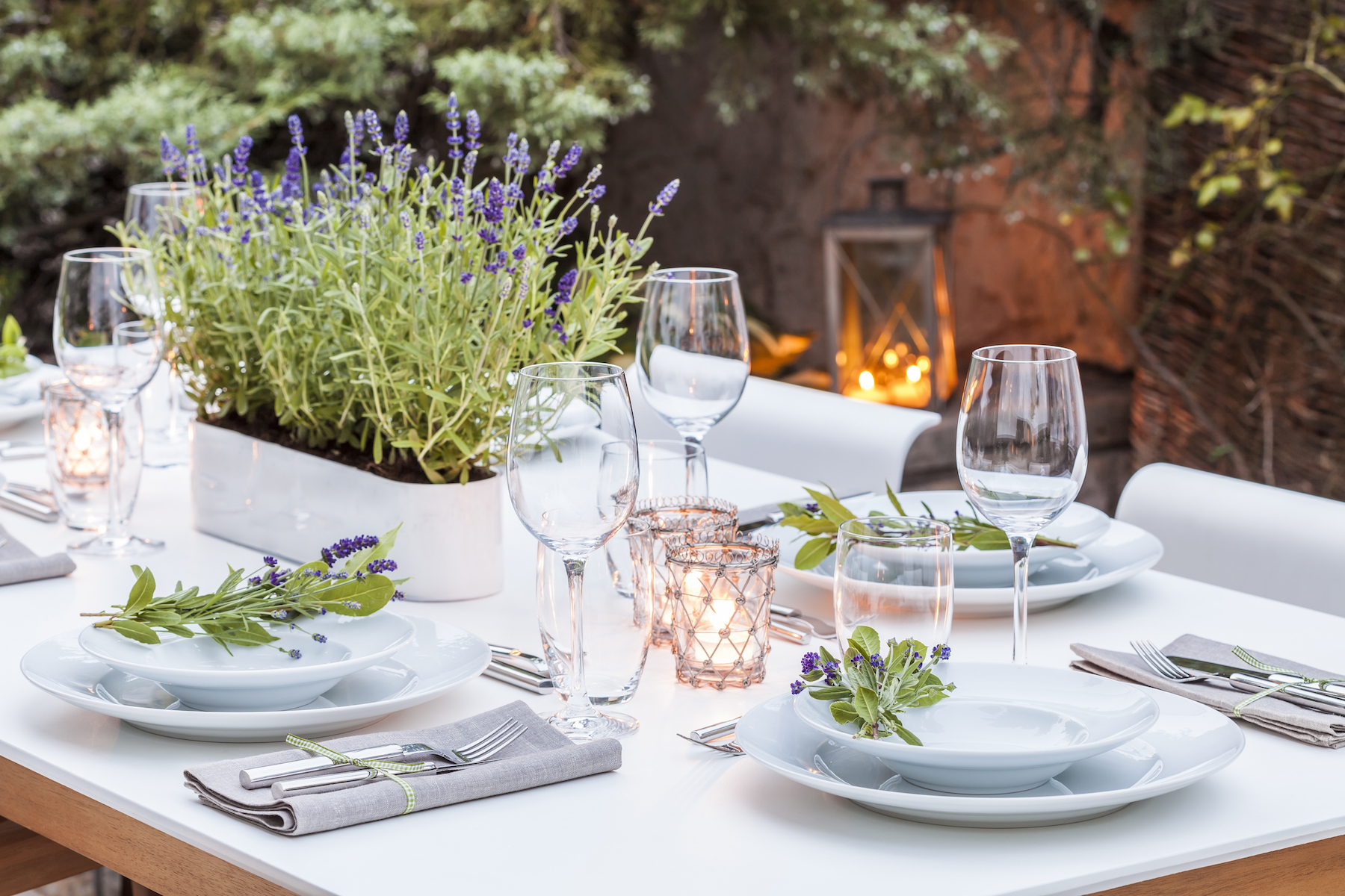 Outdoor Place Settings with Lavender