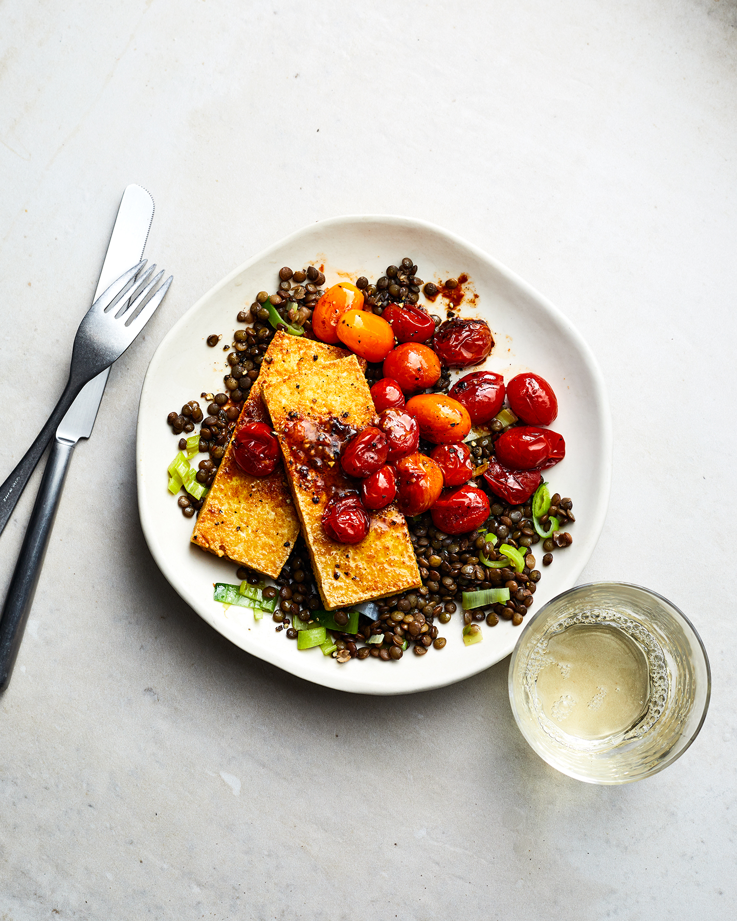 "Tofu ""Halloumi"" With Lentils and Burst Tomatoes"