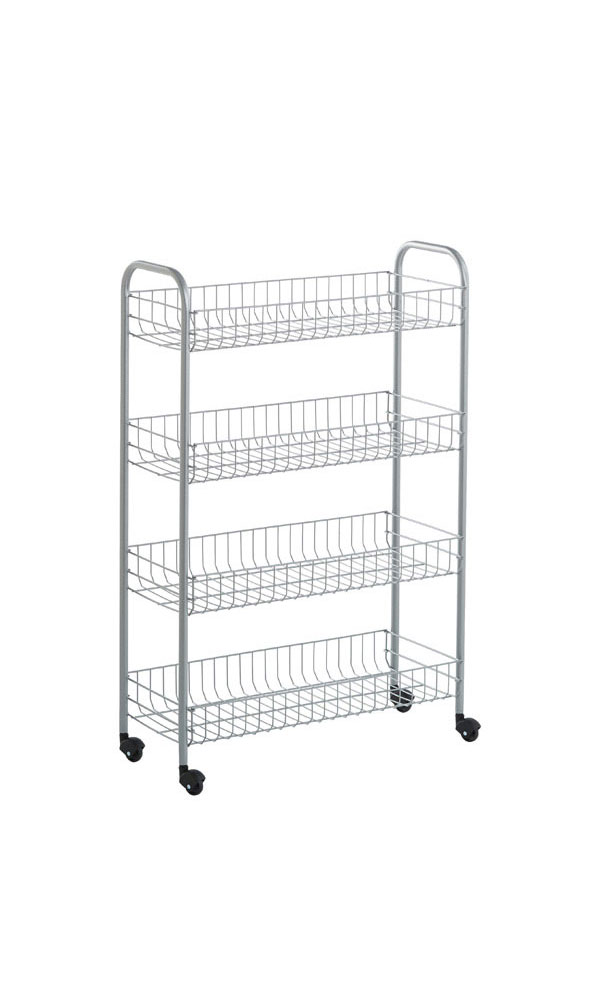 Less Than 30 Silver 4 Tier Slim Rolling Cart