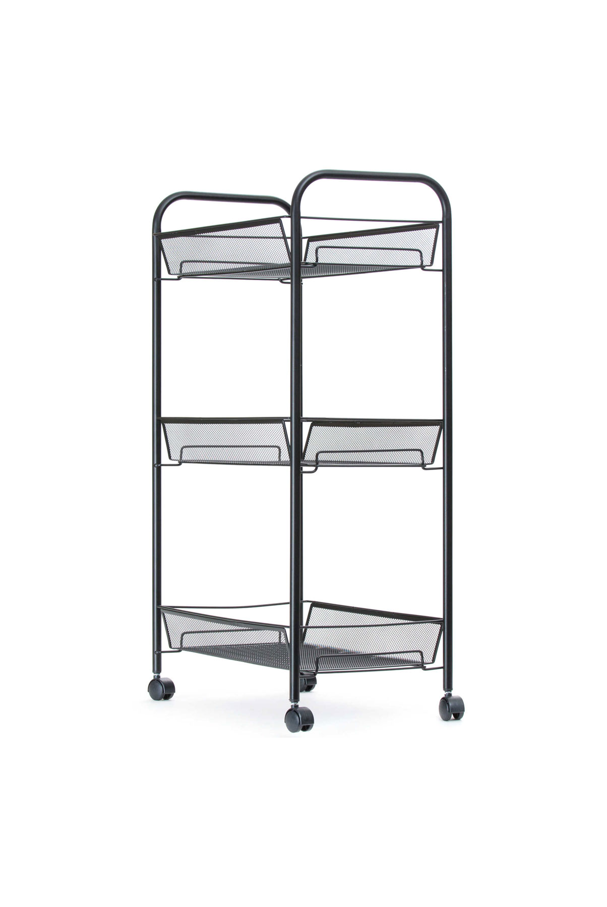 Mind Reader 3-Shelf Metal Mesh Storage Cart in Black