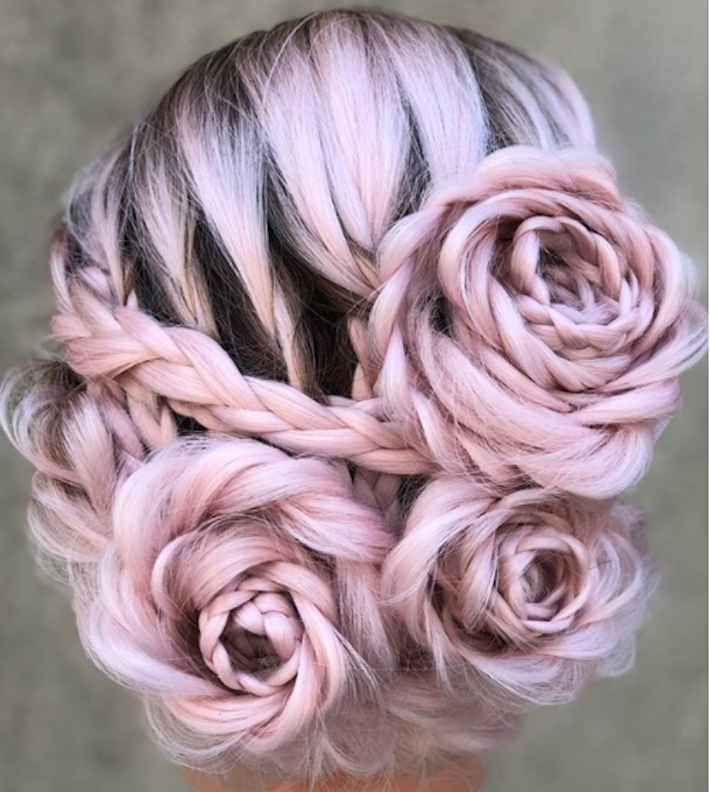 braided and blonde rose braid hairstyle