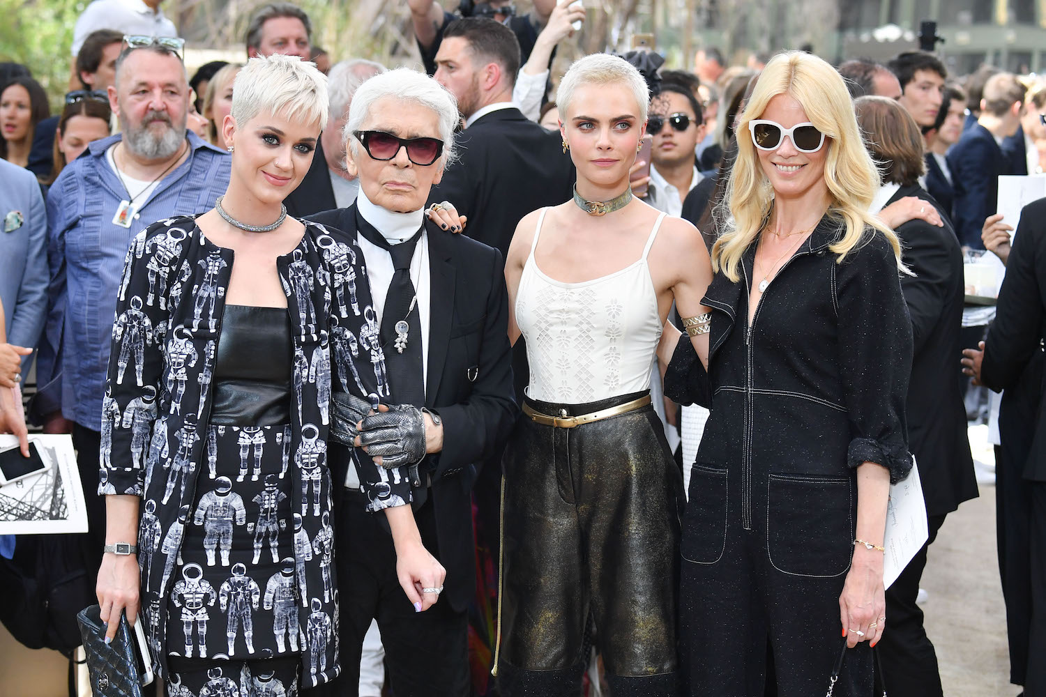 Karl Lagerfeld with Katy Perry, Cara Delevingne and Claudia Schiffer at a Chanel Show