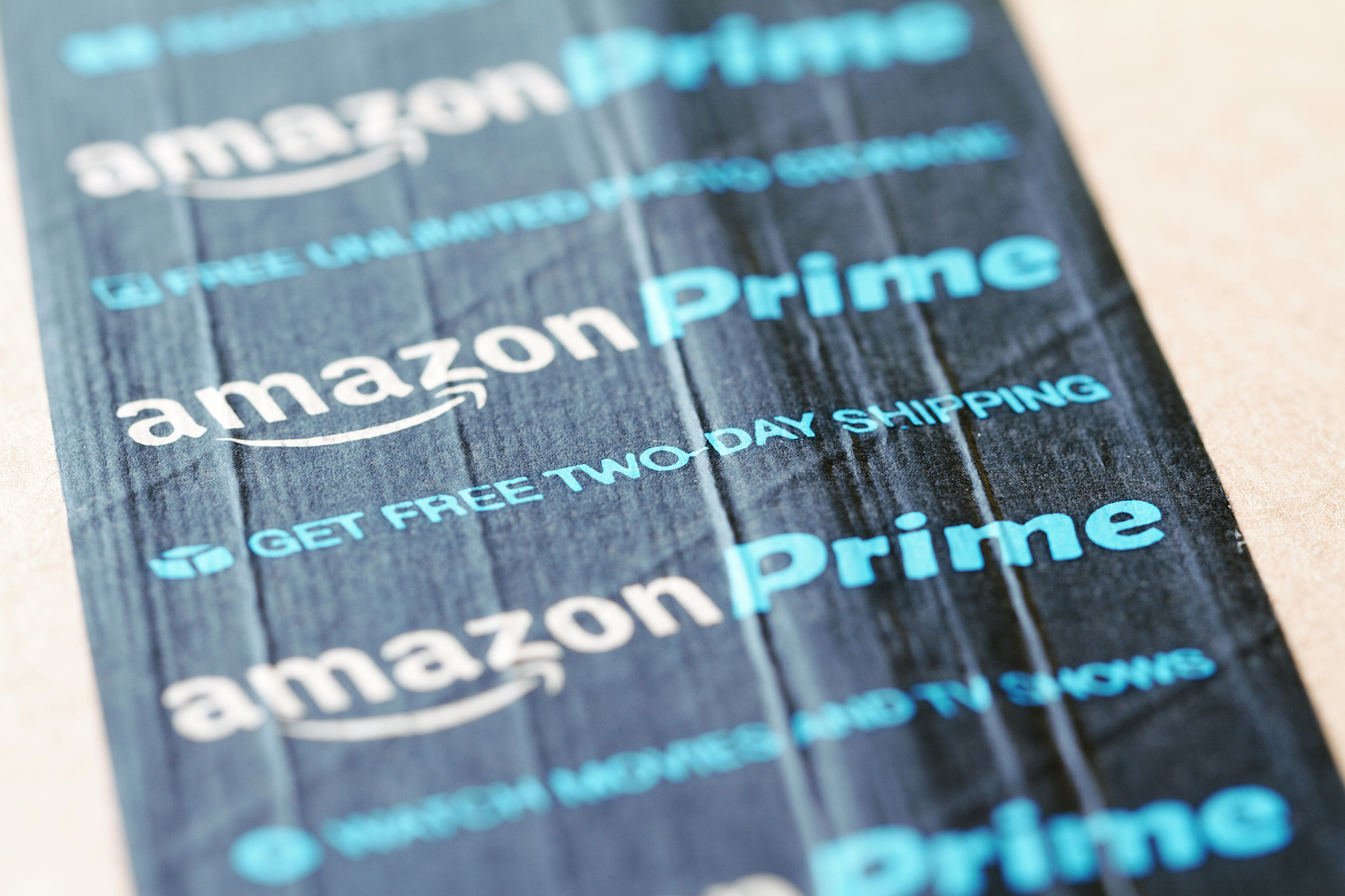 Close up of Amazon Prime Box