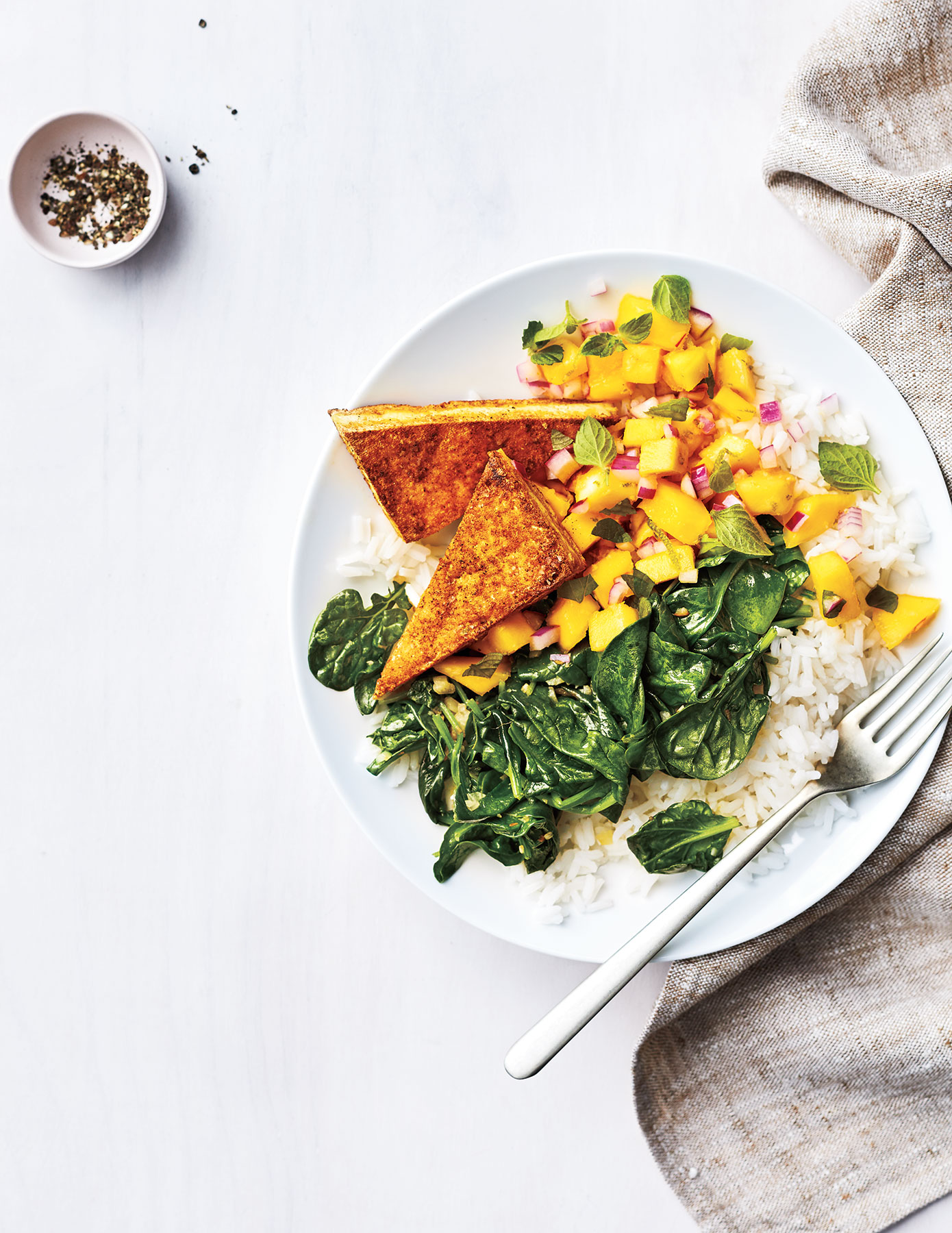 Curry Tofu With Fresh Mango Chutney
