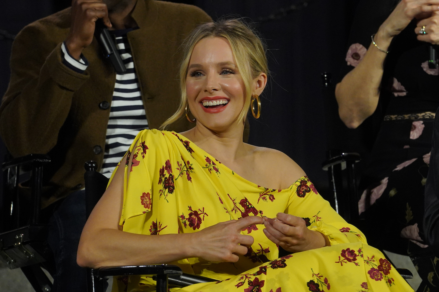 "Kristen Bell Laughing at a Press Conference for ""The Good Place"""