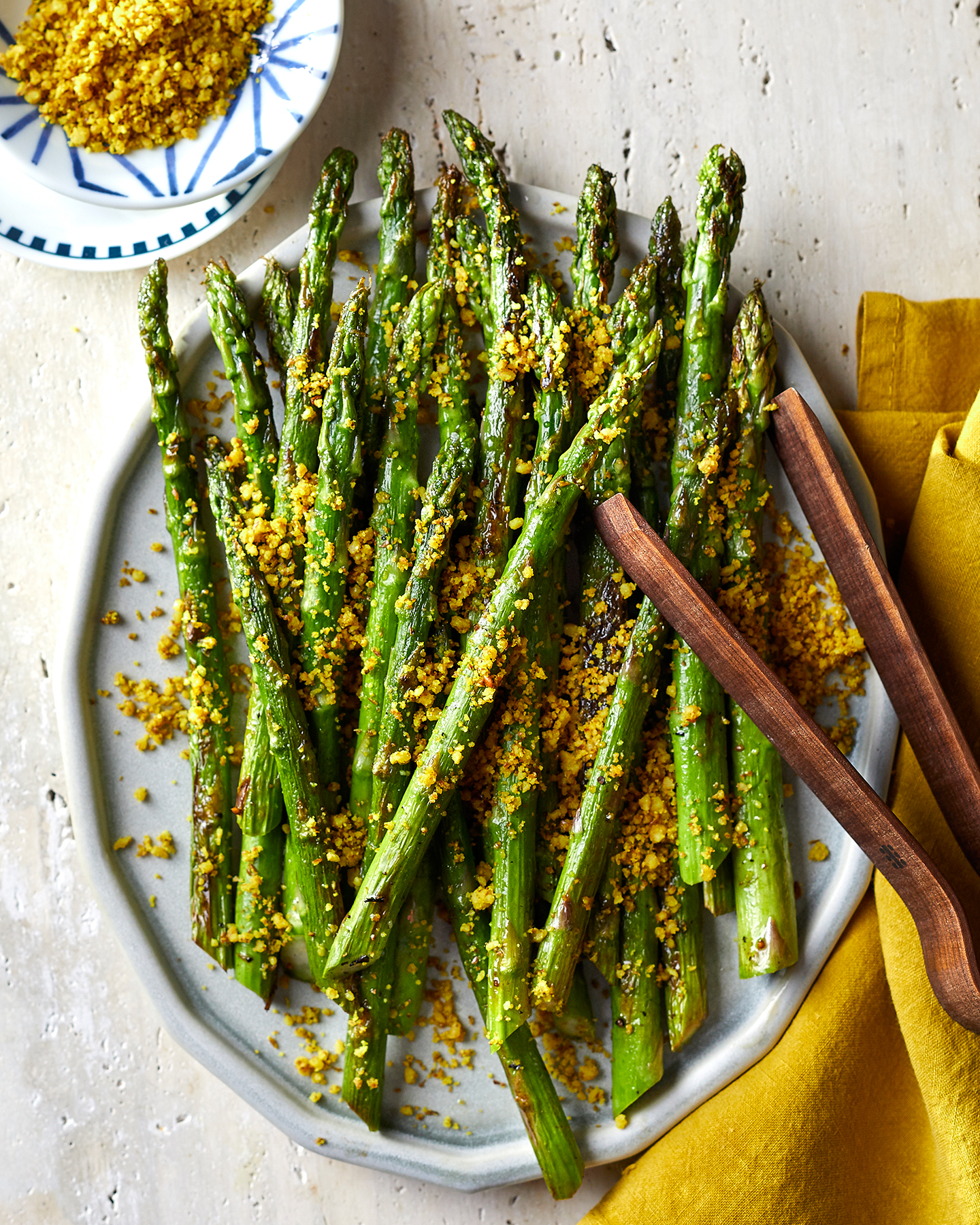 Roasted Asparagus With Flax Seed-Walnut Crumble