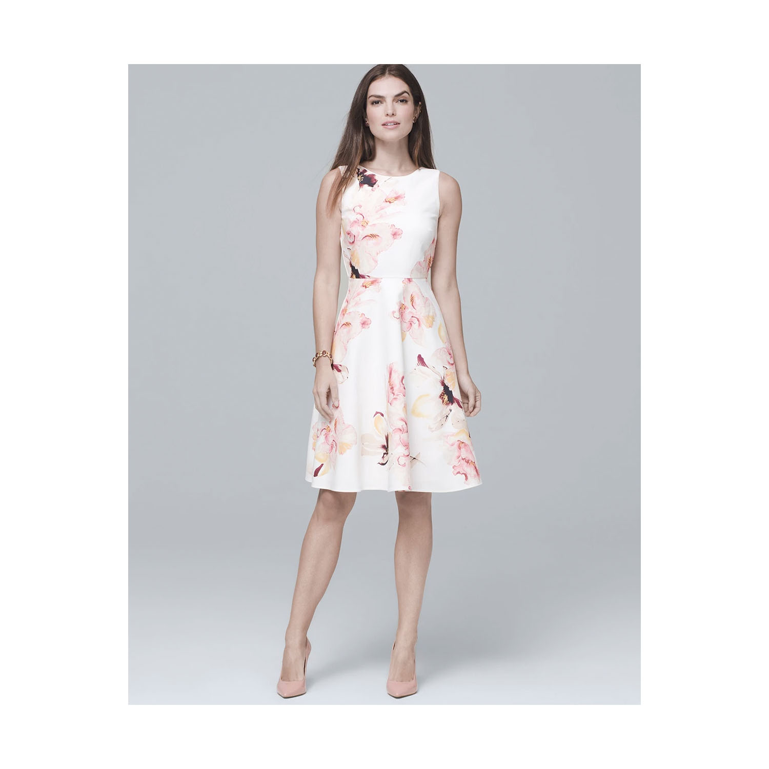 White House Black Market Exploded Floral Fit and Flare Dress