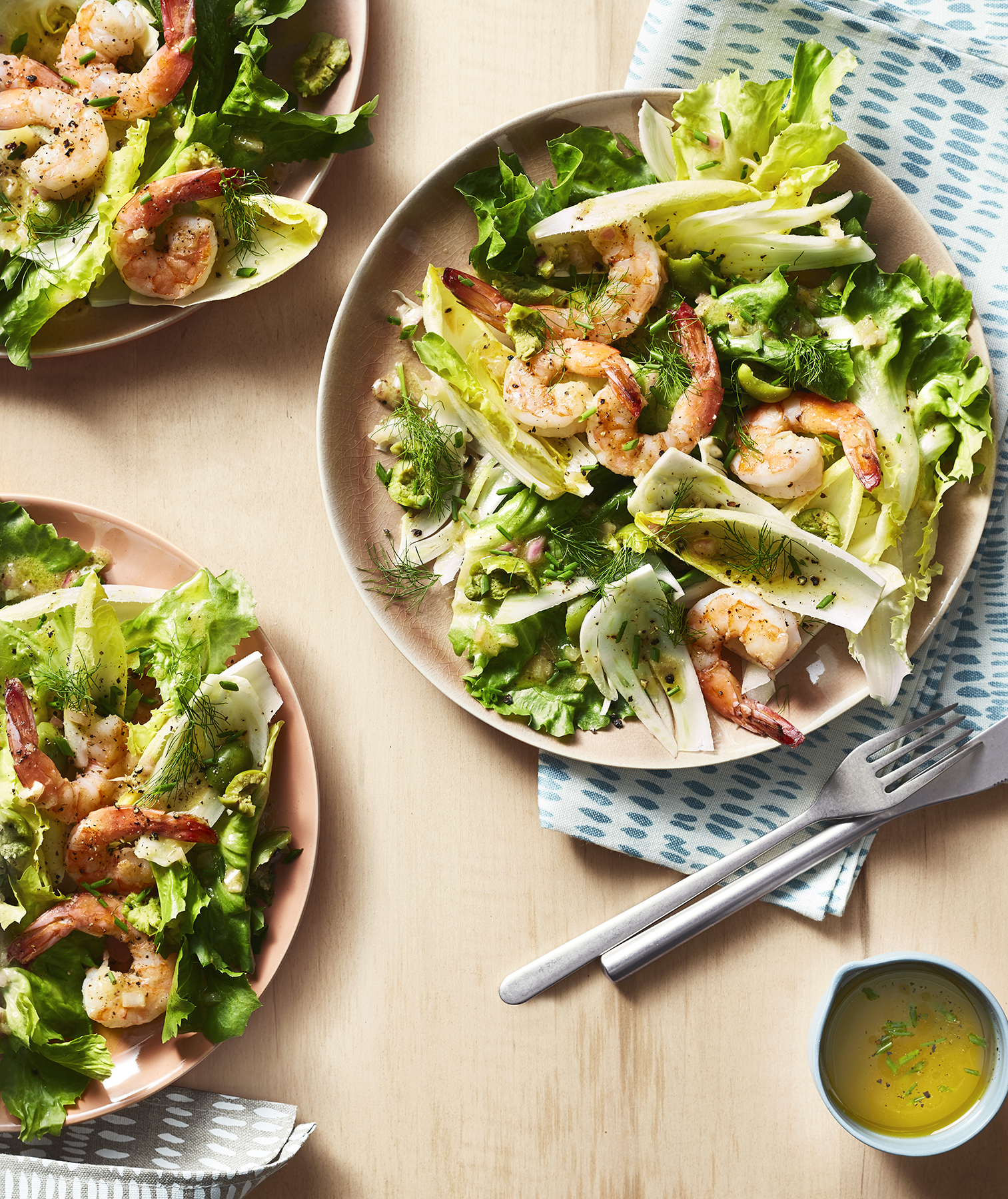 Shrimp, Escarole and Fennel Salad With Olive-Herb Dressing