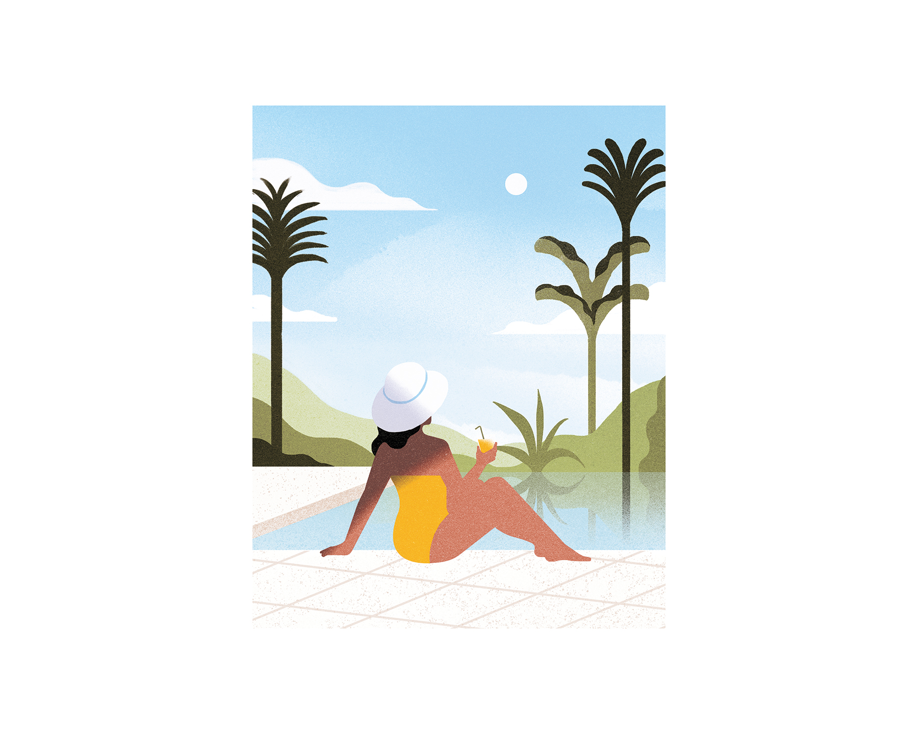 Woman poolside illustration
