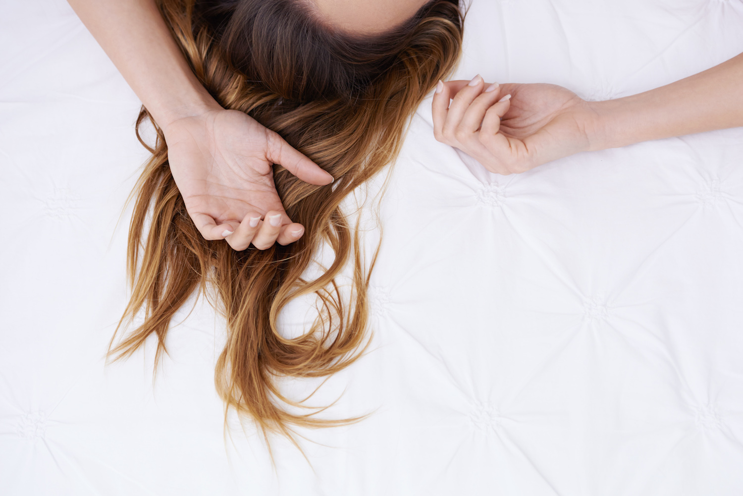 Woman's Hair with Dry Shampoo in It