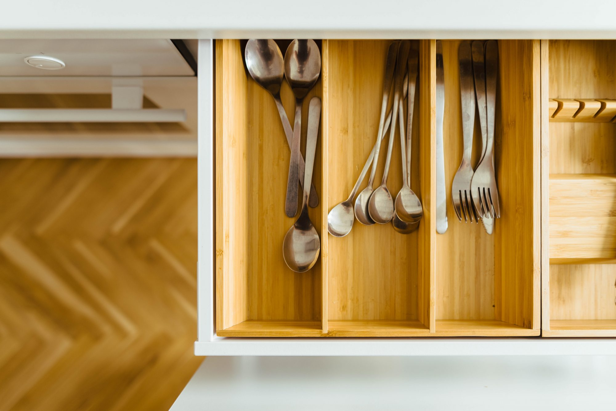 silverware in kitchen drawer