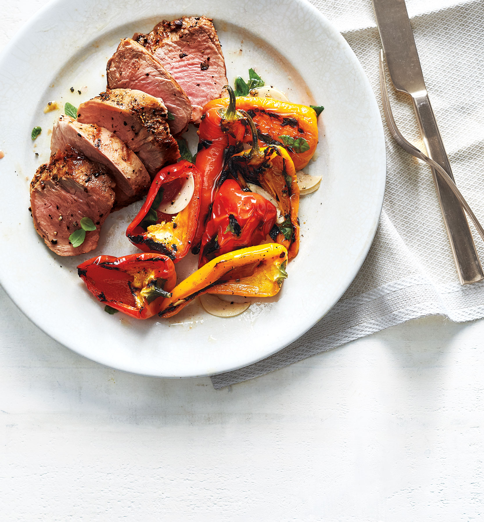 Pork Tenderloin With Marinated Grilled Peppers