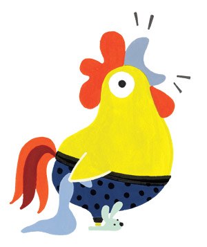Illustration of rooster with bunny slippers