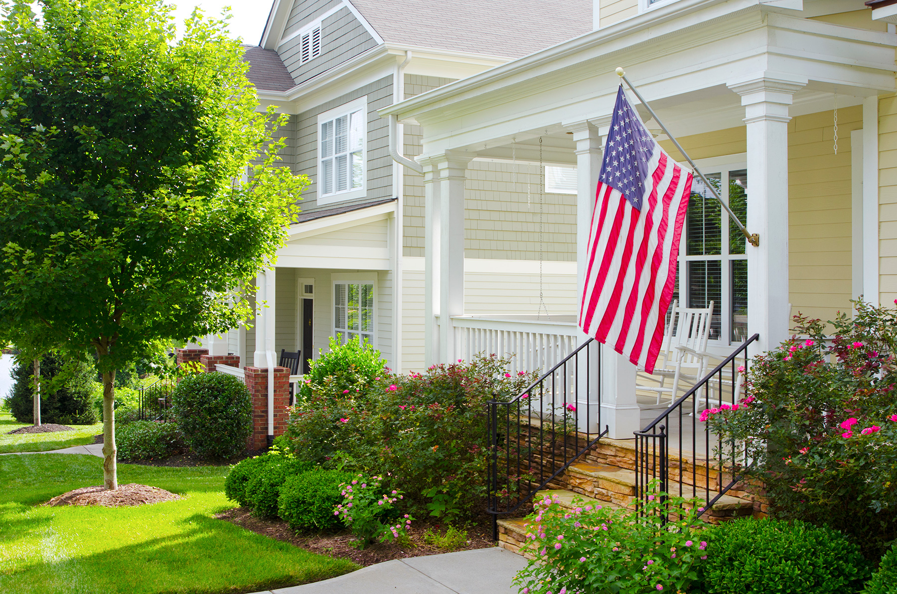 American flag displayed on porch