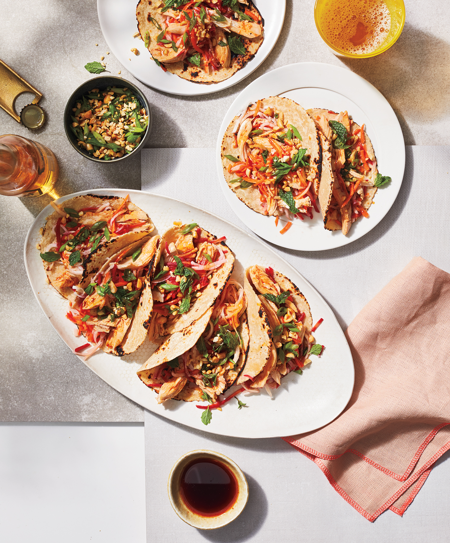 Summer Tacos With Scallion-Peanut Relish