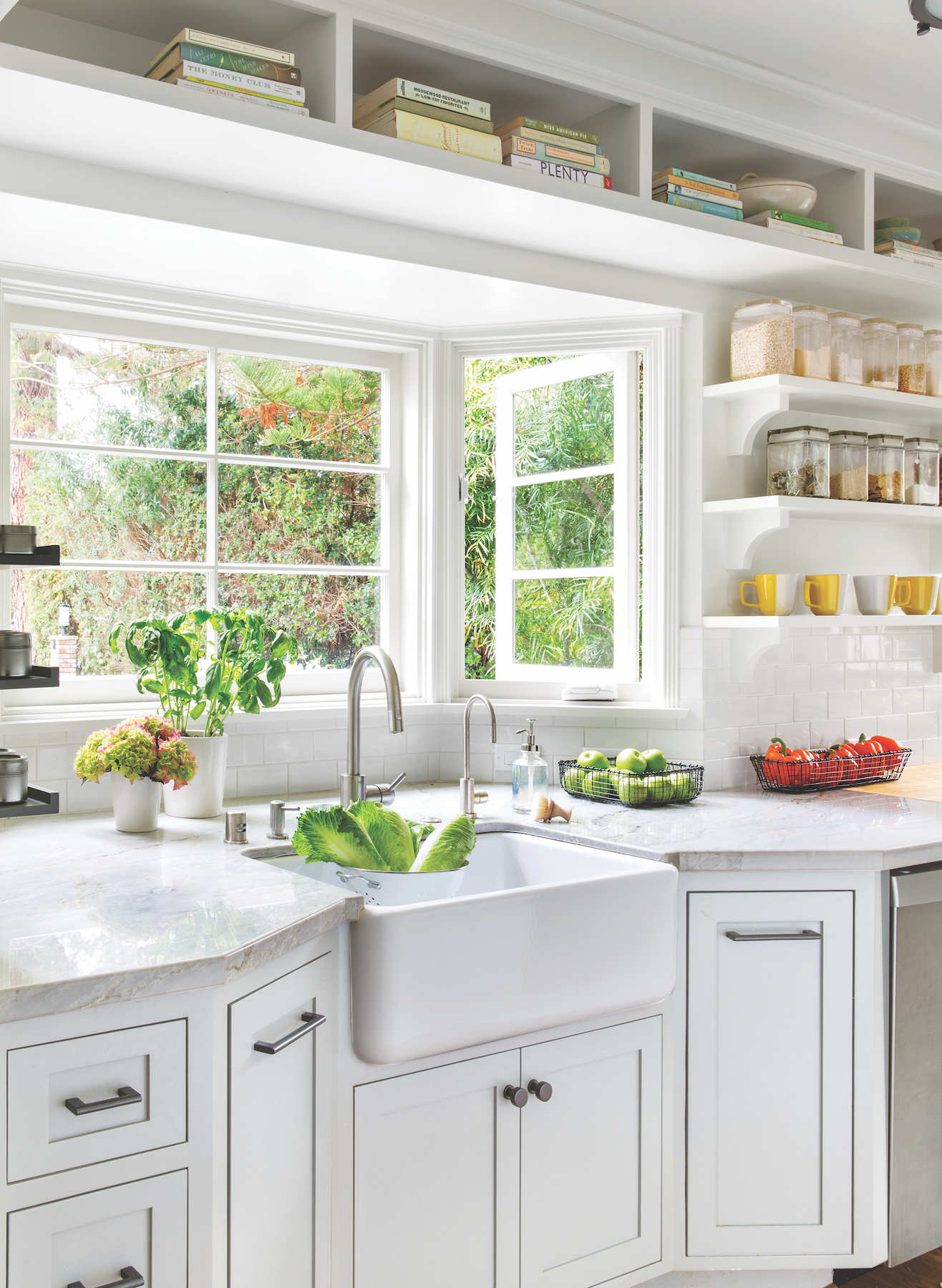 Kitchen Cleaning Plan, beautiful kitchen with vegetables in the sink and window