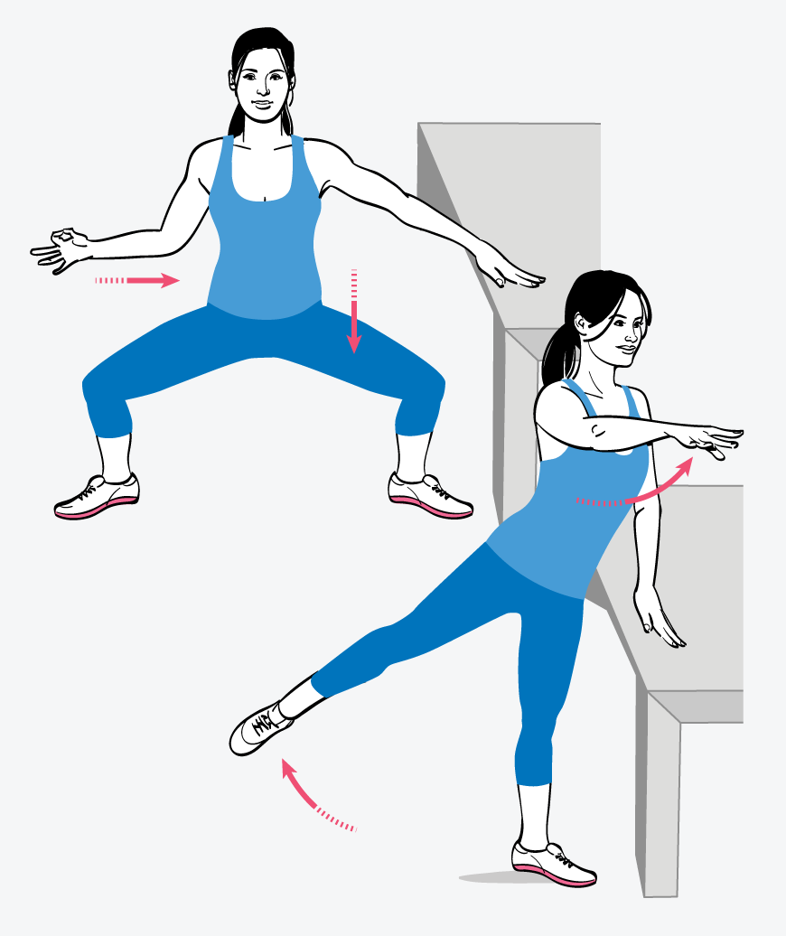 Horse Pose With a Lift and Twist