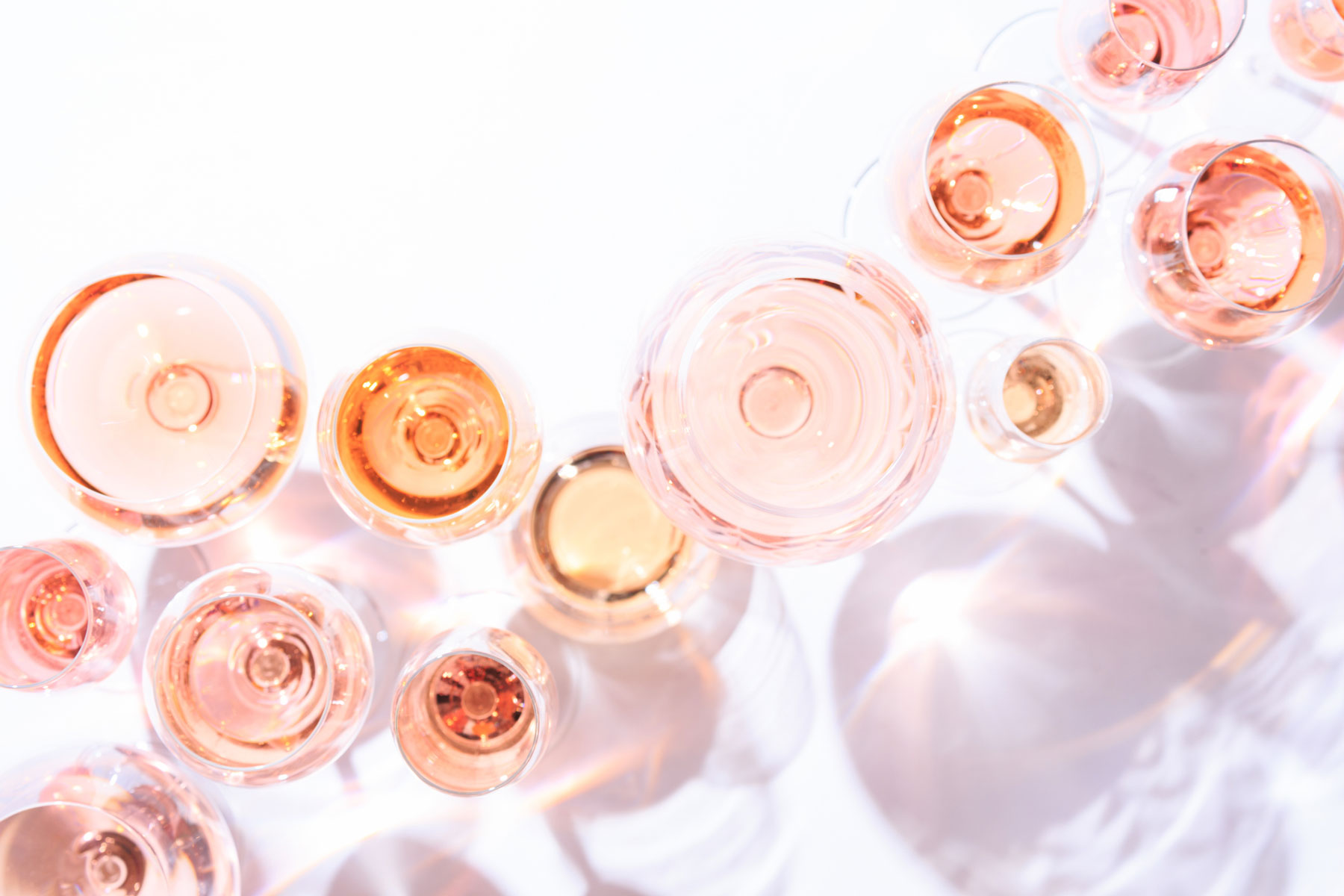 Glasses of rose pink wine