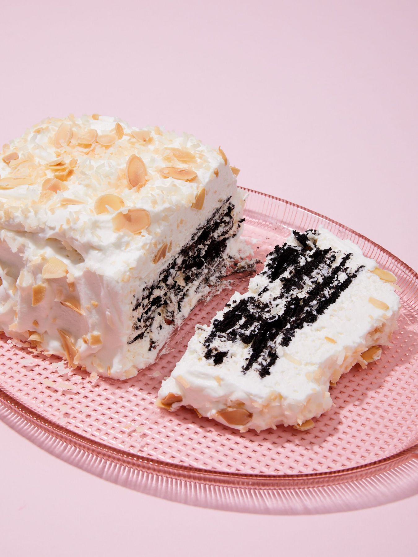 <p>Coconut Chocolate Icebox Cake with Toasted Almonds</p>
