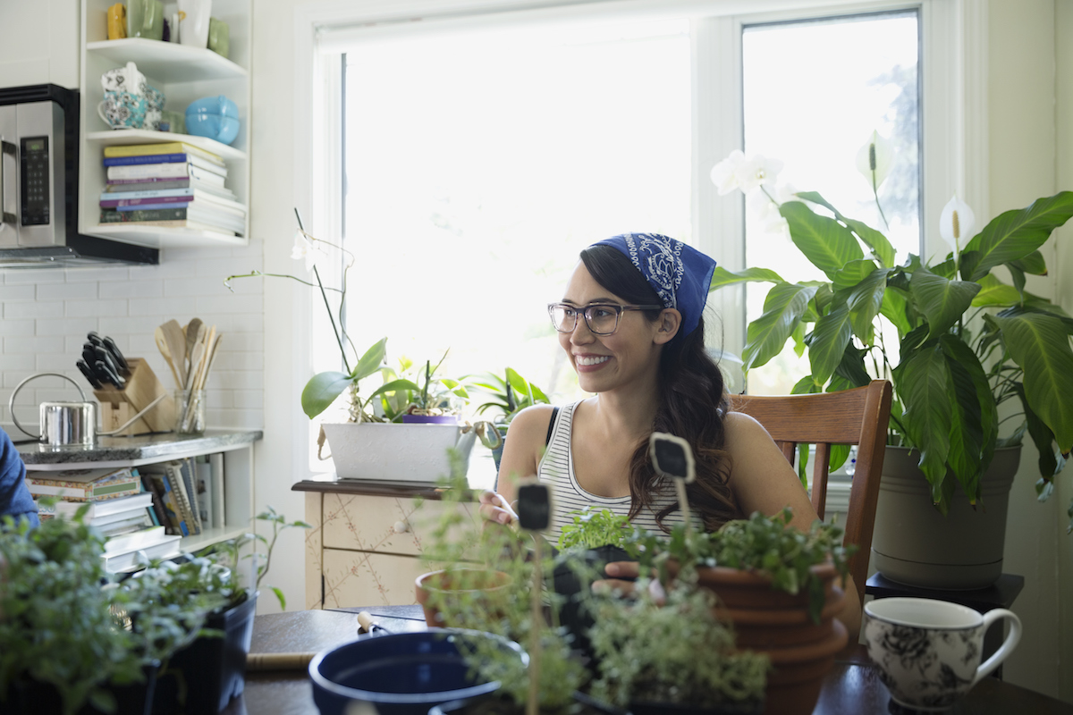 House Plants Trends, women in kitchen with plants