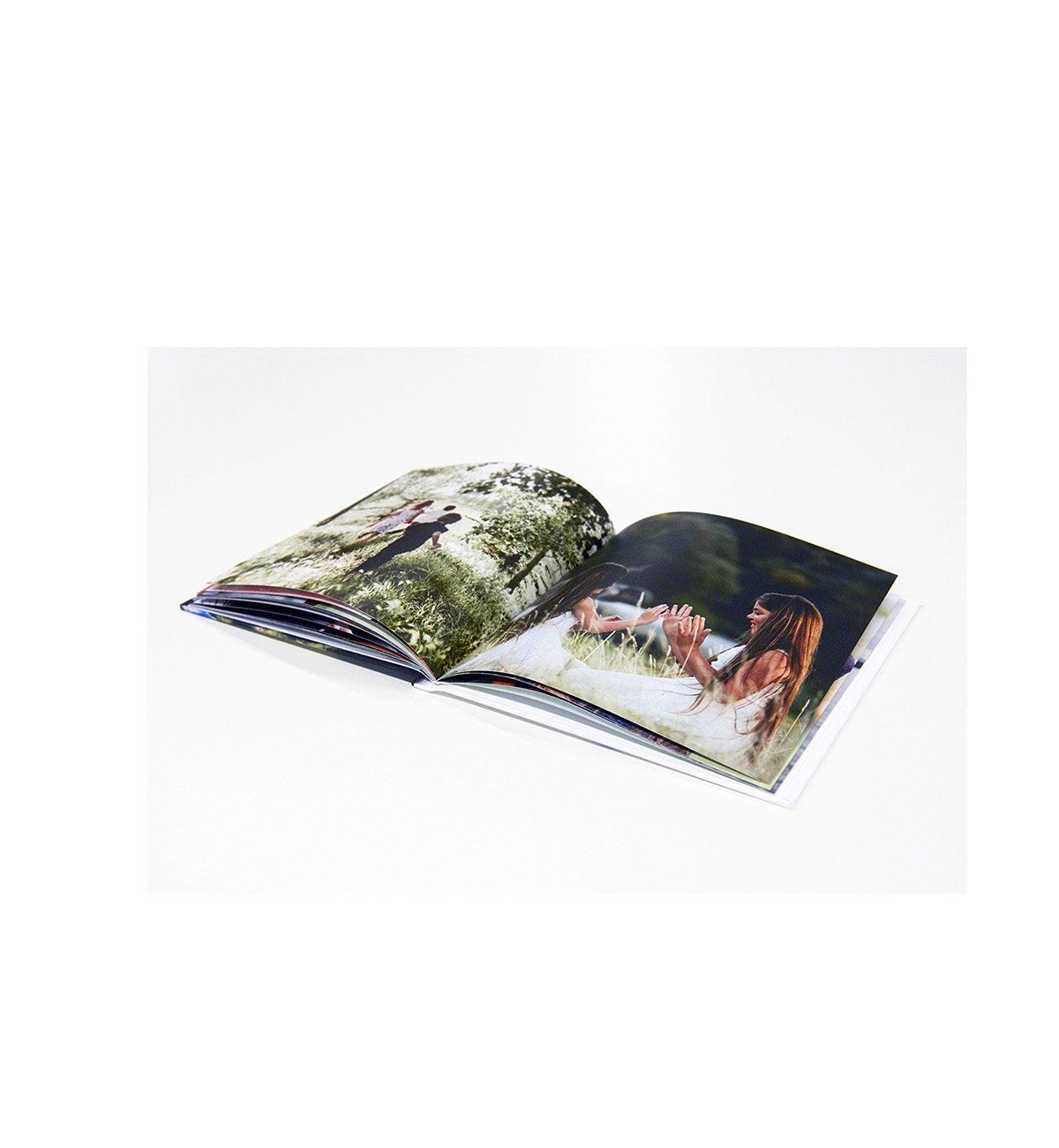 Open softcover photo book