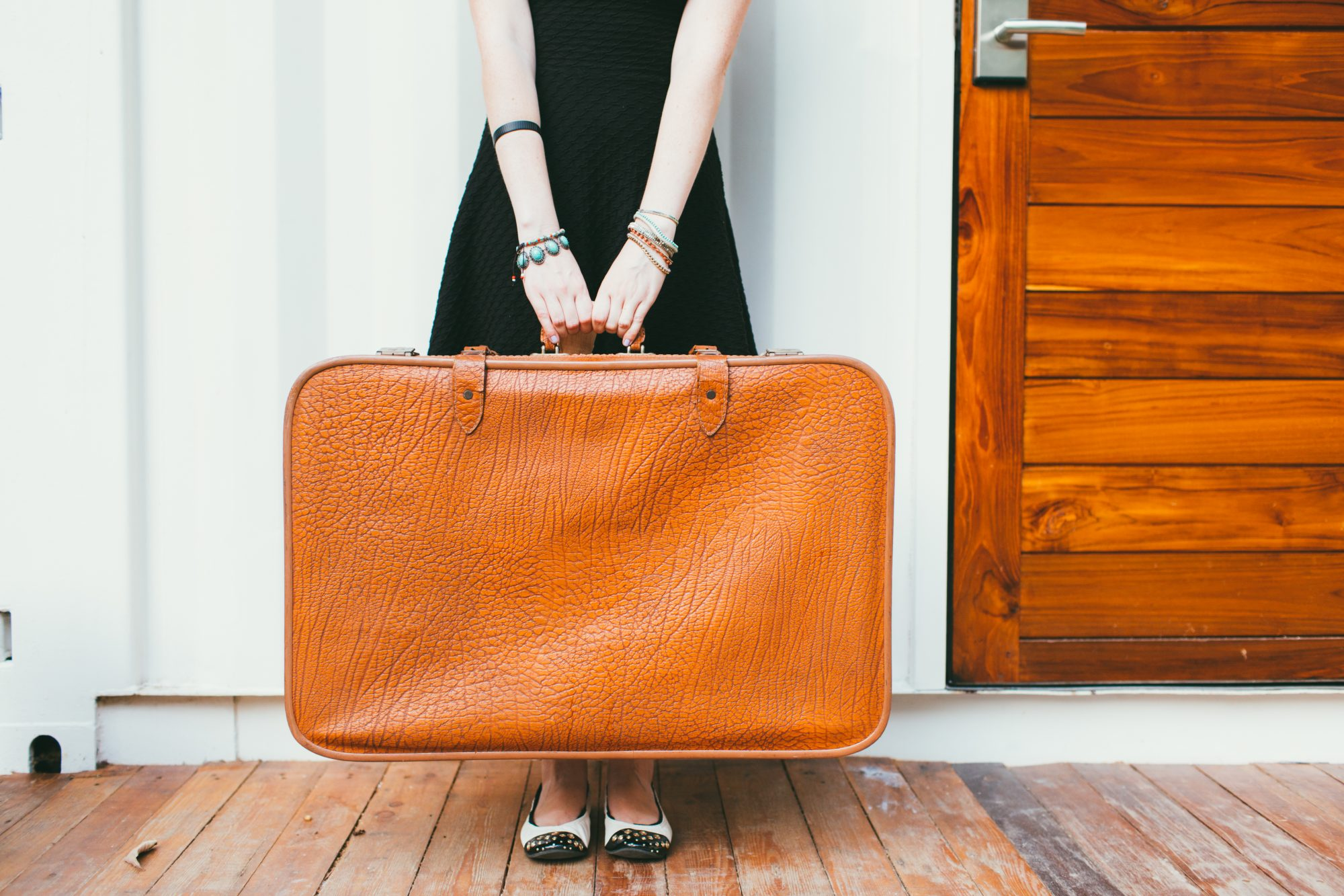 Woman holding luggage