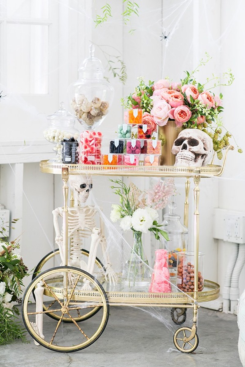 Halloween Party Theme Candy Cart with flowers and skeletons
