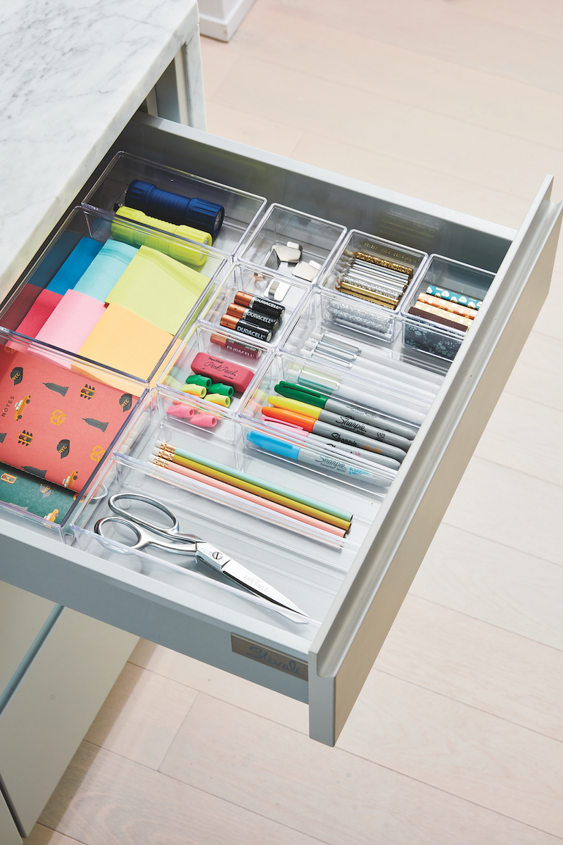 Organized junk drawer in Real Simple home