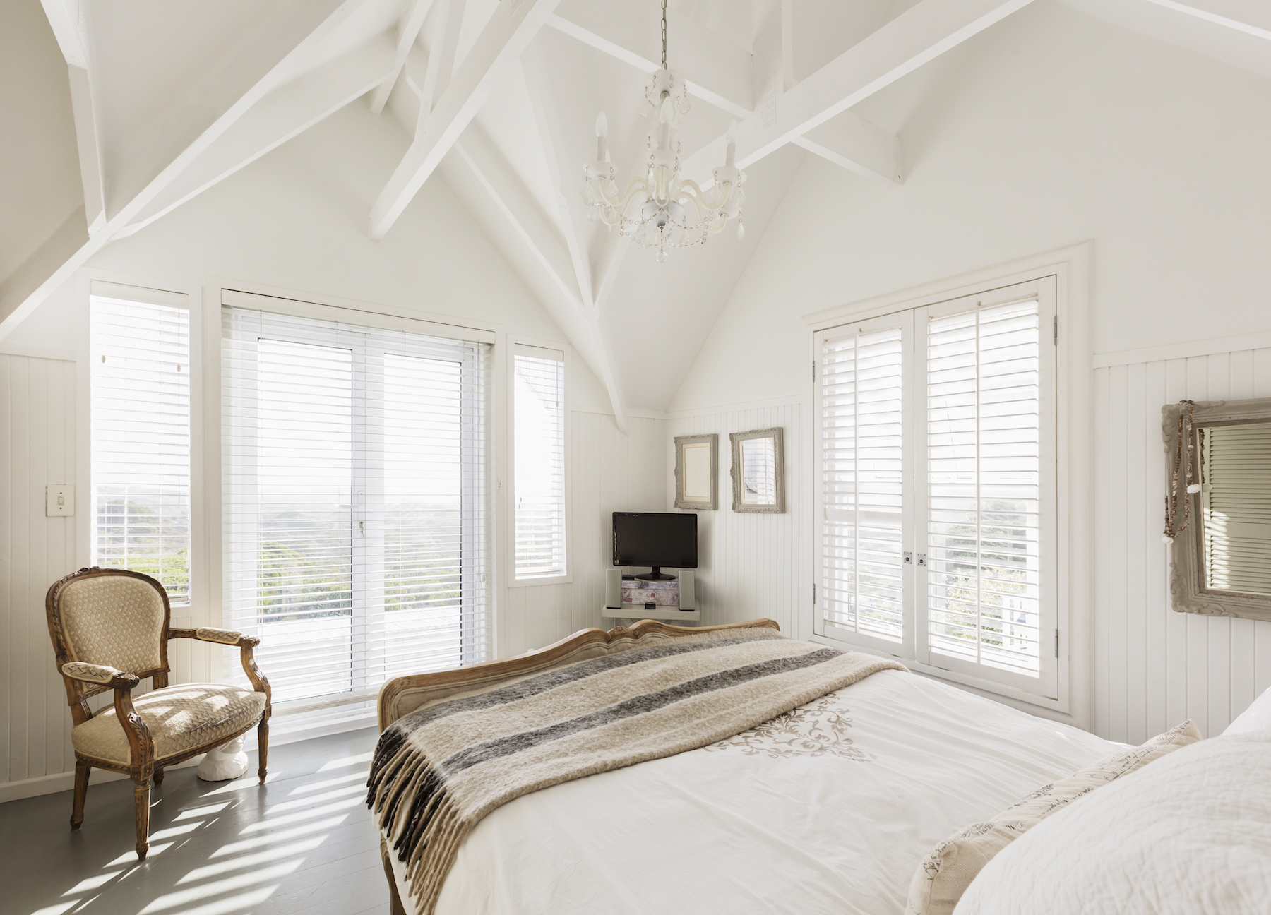 White Bedroom with Window Blinds