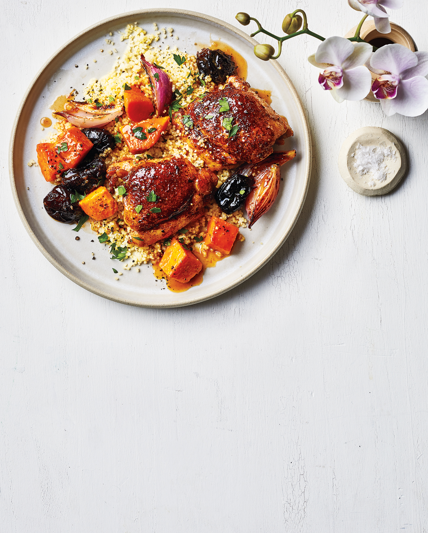 Boneless Chicken Thighs Recipe: Chicken Thighs With Sweet Potatoes and Prunes