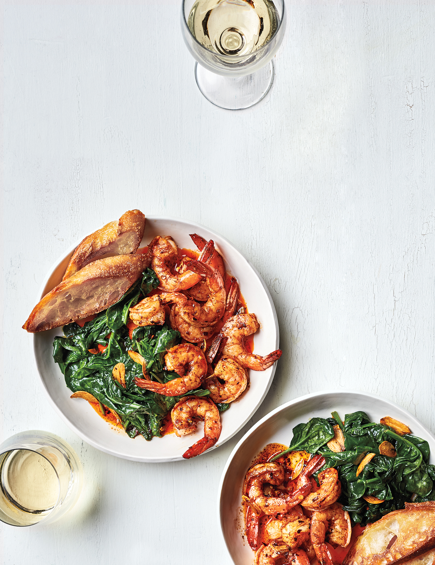 Shrimp Pil Pil With Spinach