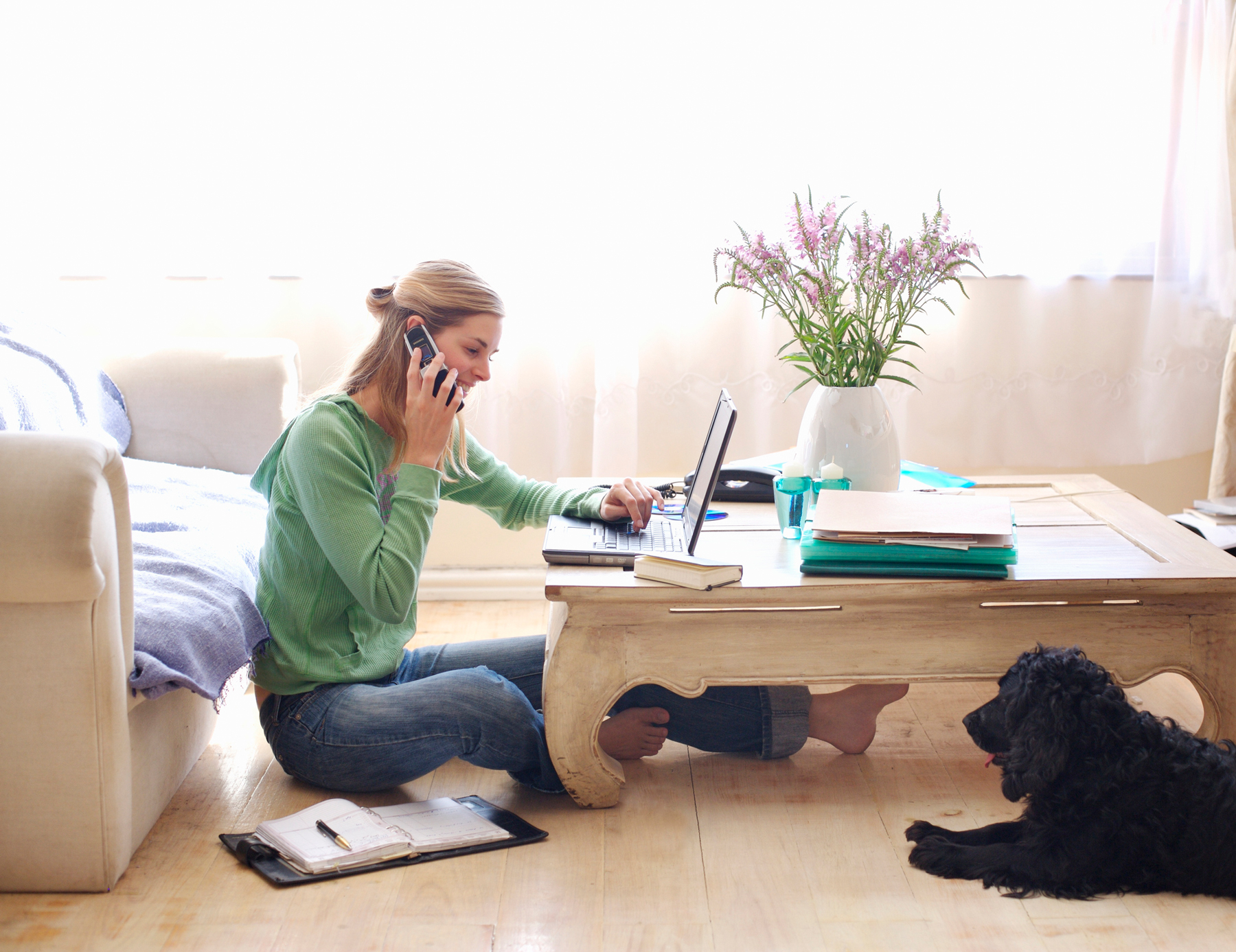 Woman working from home - best/worst working from home perks