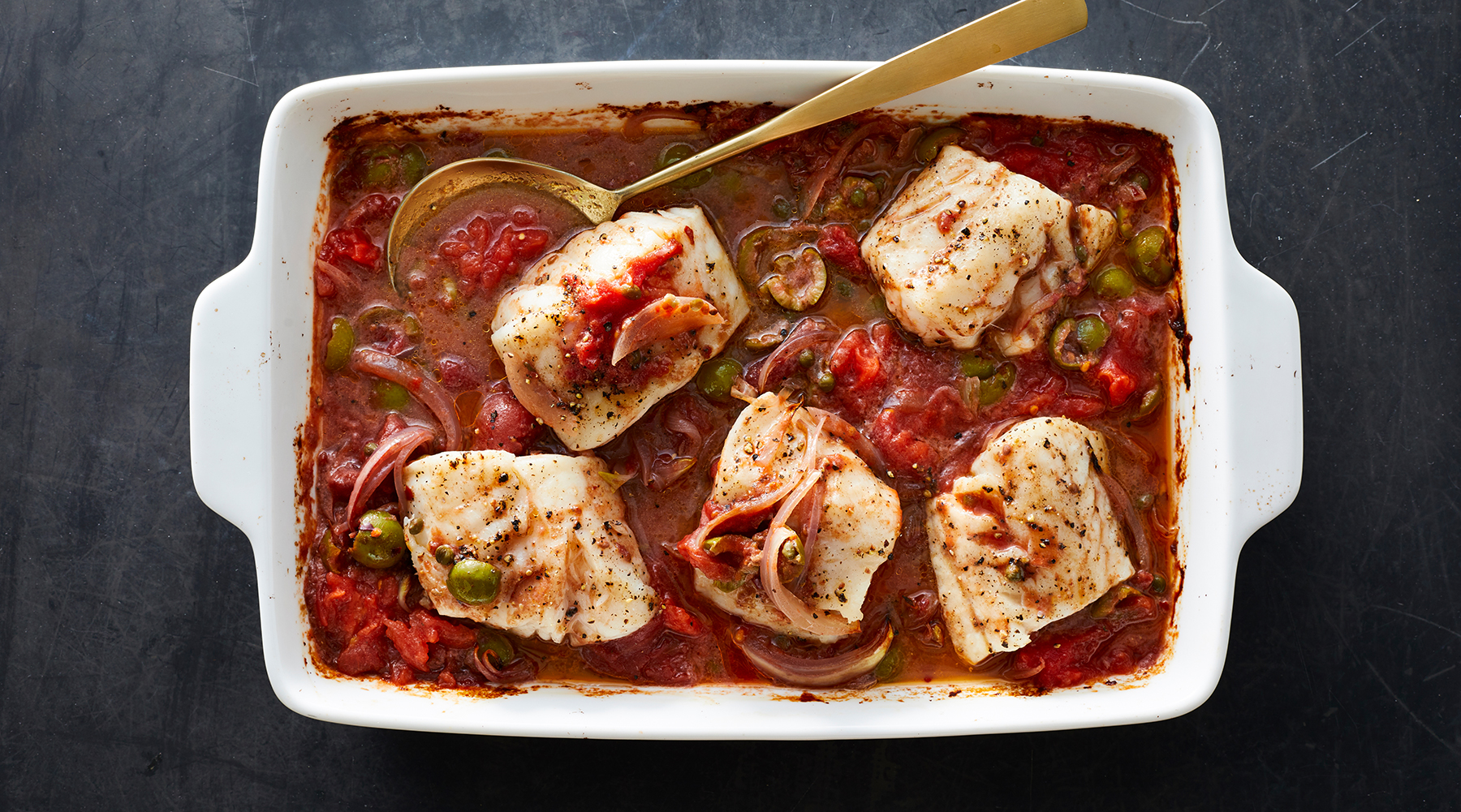 Baked Cod With Tomatoes, Olives and Capers