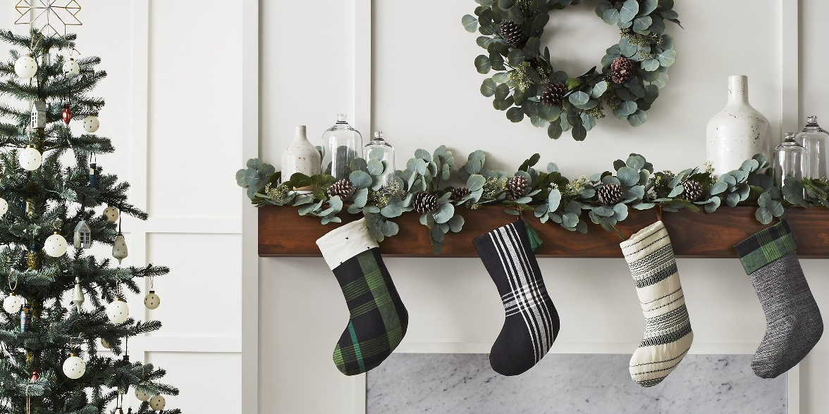 Mantel with stockings and Christmas Tree from Target