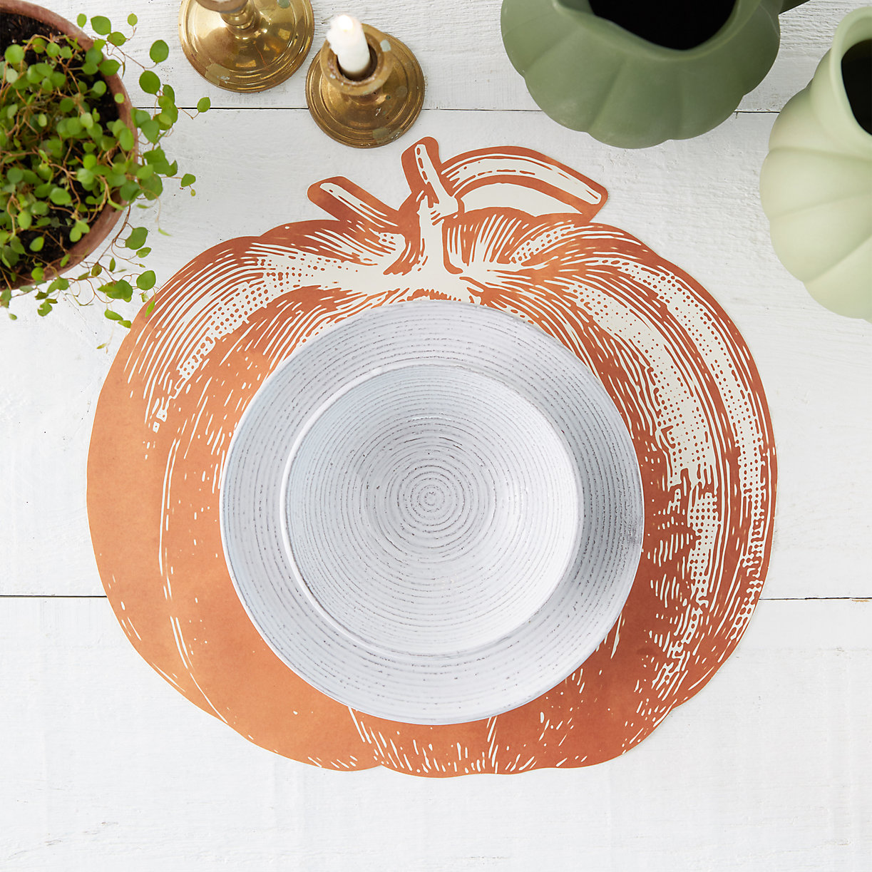 Thanksgiving Table with pumpkin placemat