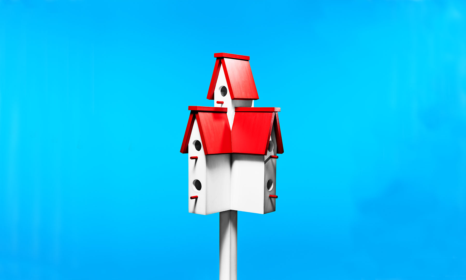 Red and white birdhouse