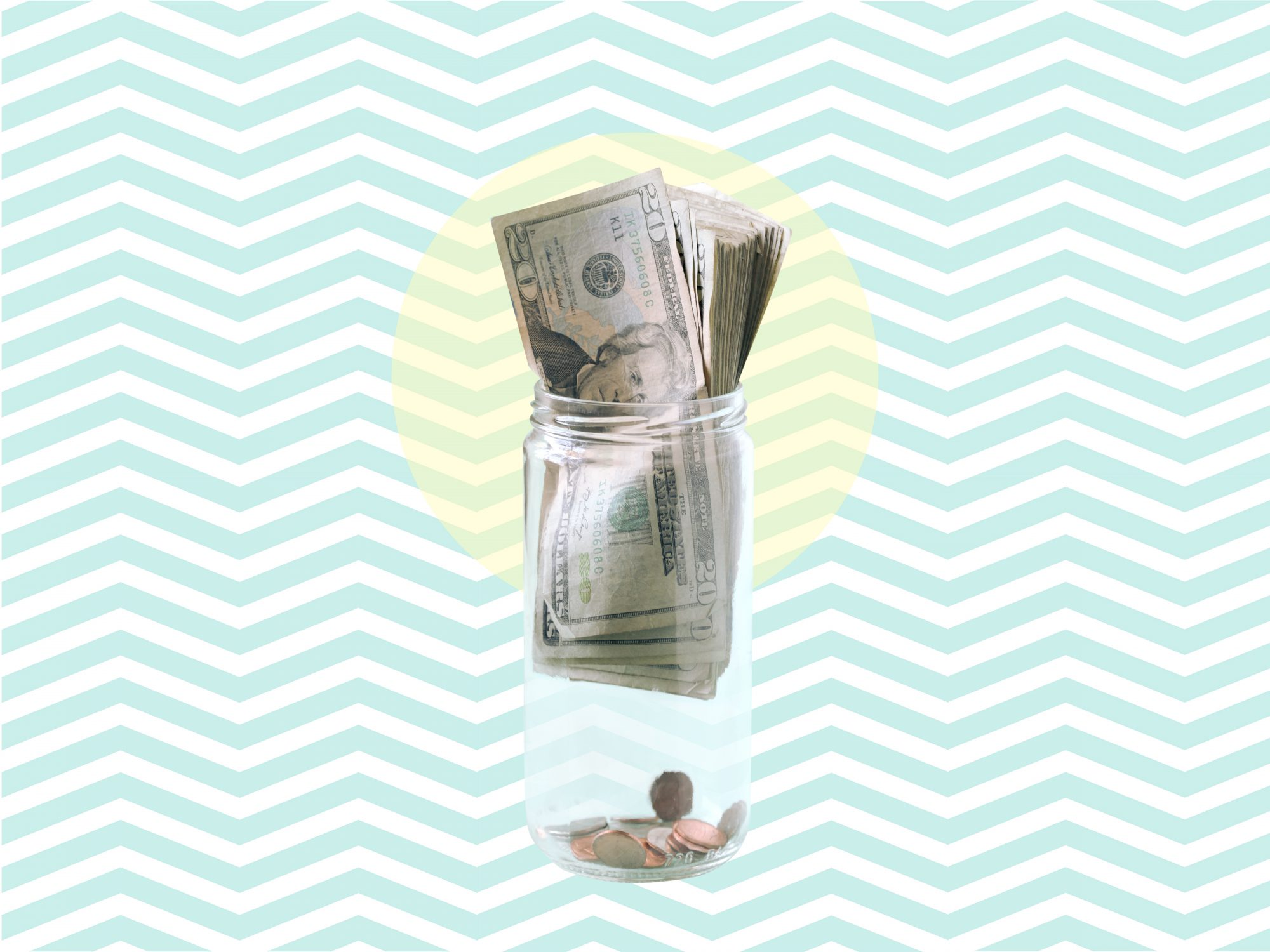 Jar will dollar bills on a light green background