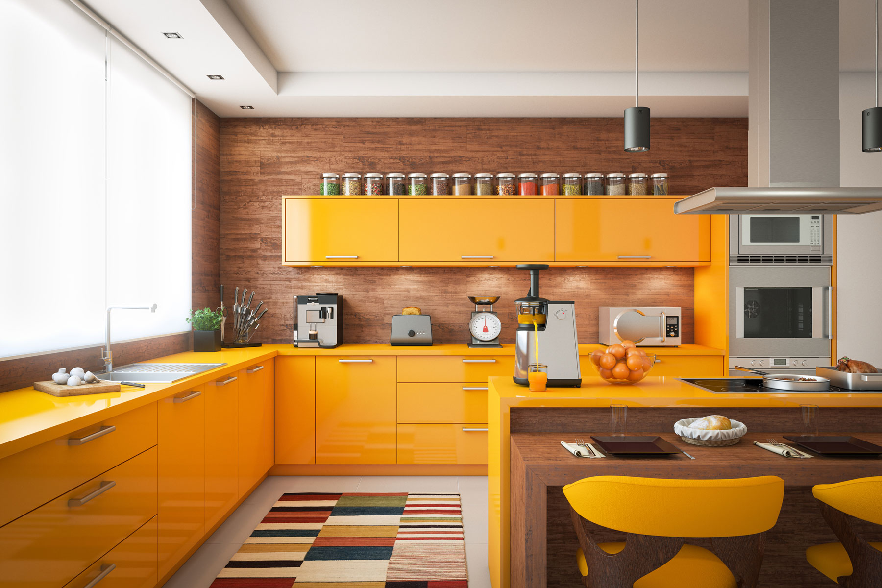 Kitchen color schemes: Colorful yellow kitchen
