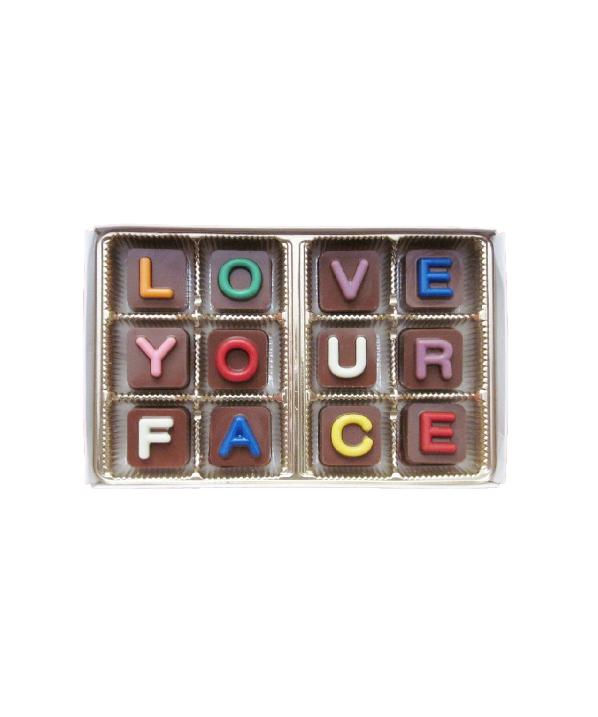 Love Your Face  Jelly Bean Chocolate Cube Letters