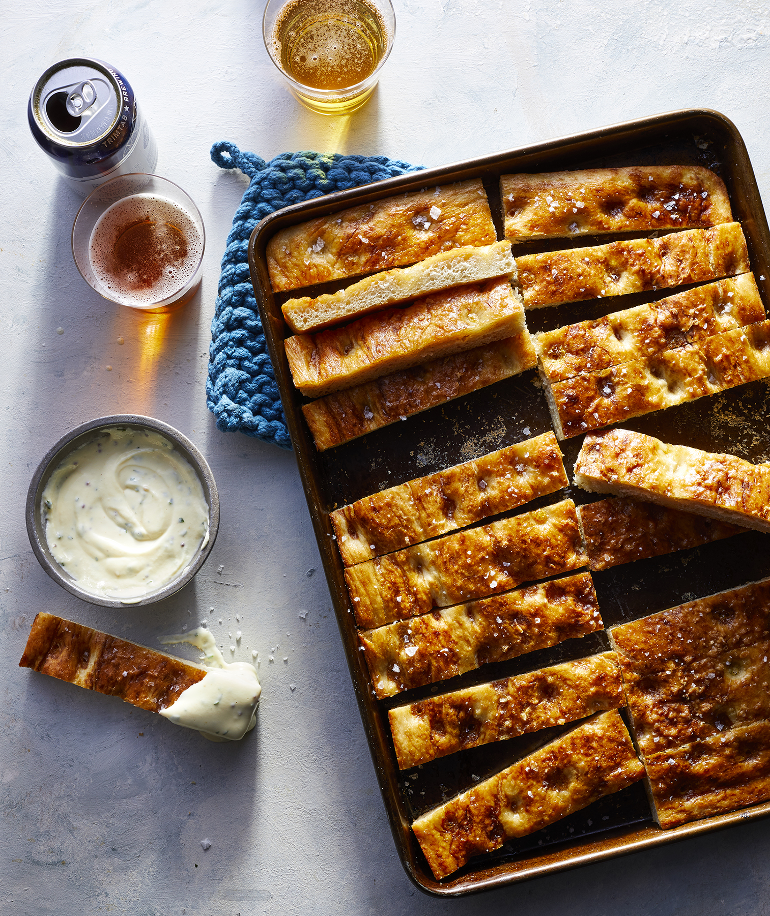 Easy Super Bowl Snacks: Sheet Pan Pretzel Focaccia With Cheese Sauce Recipe