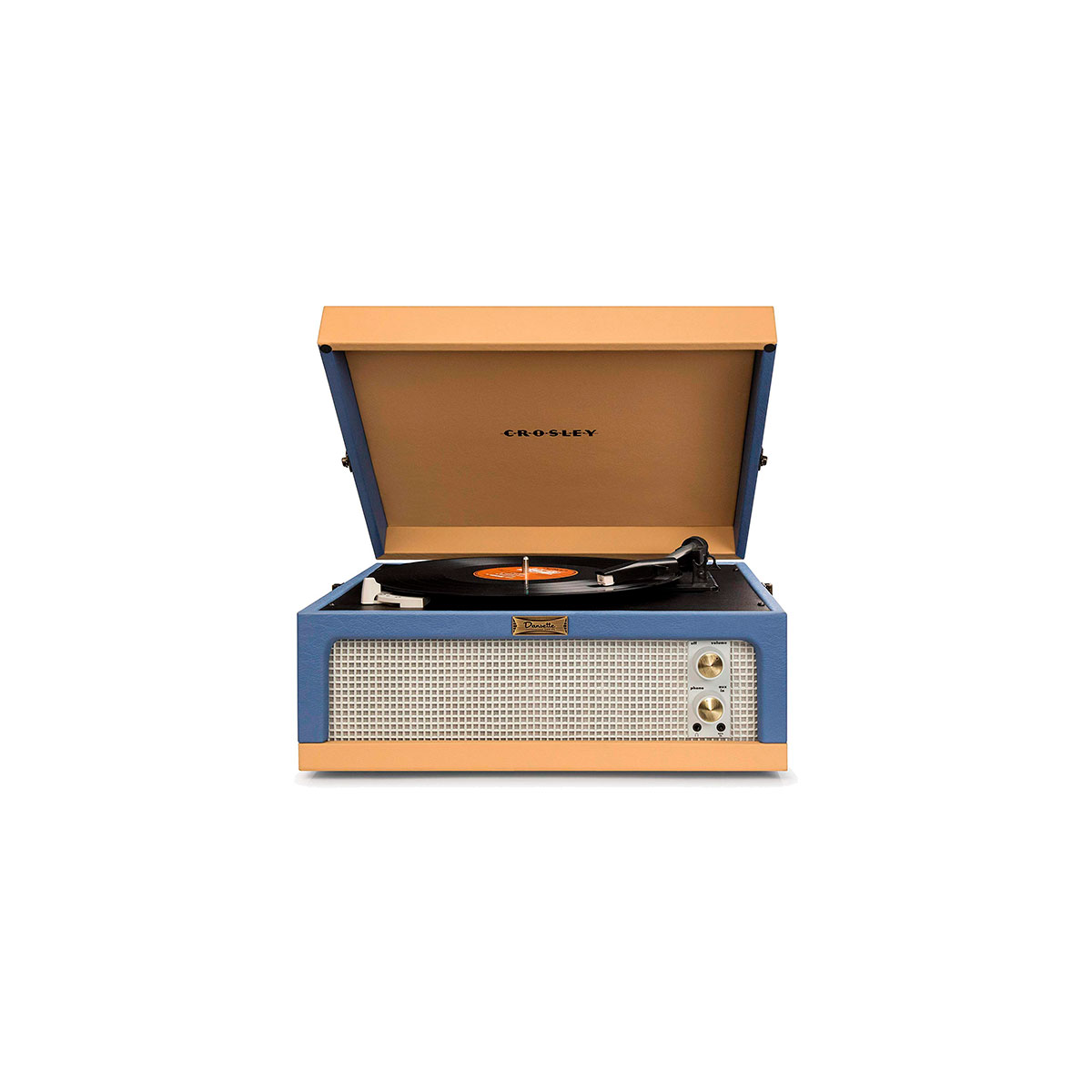 blue and tan Crosley portable turntable