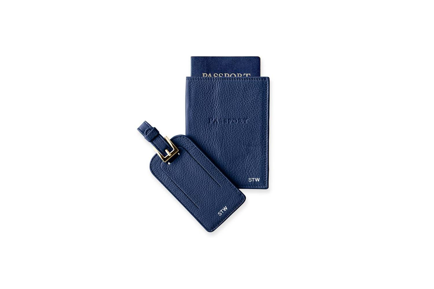Leather Luggage Tag & Passport Case Set
