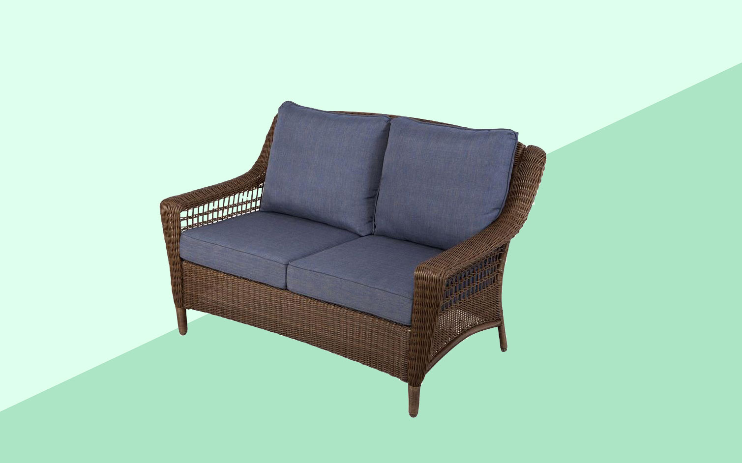 Hampton Bay Spring Haven Brown All Weather Wicker Outdoor Loveseat With Sky  Blue Cushions