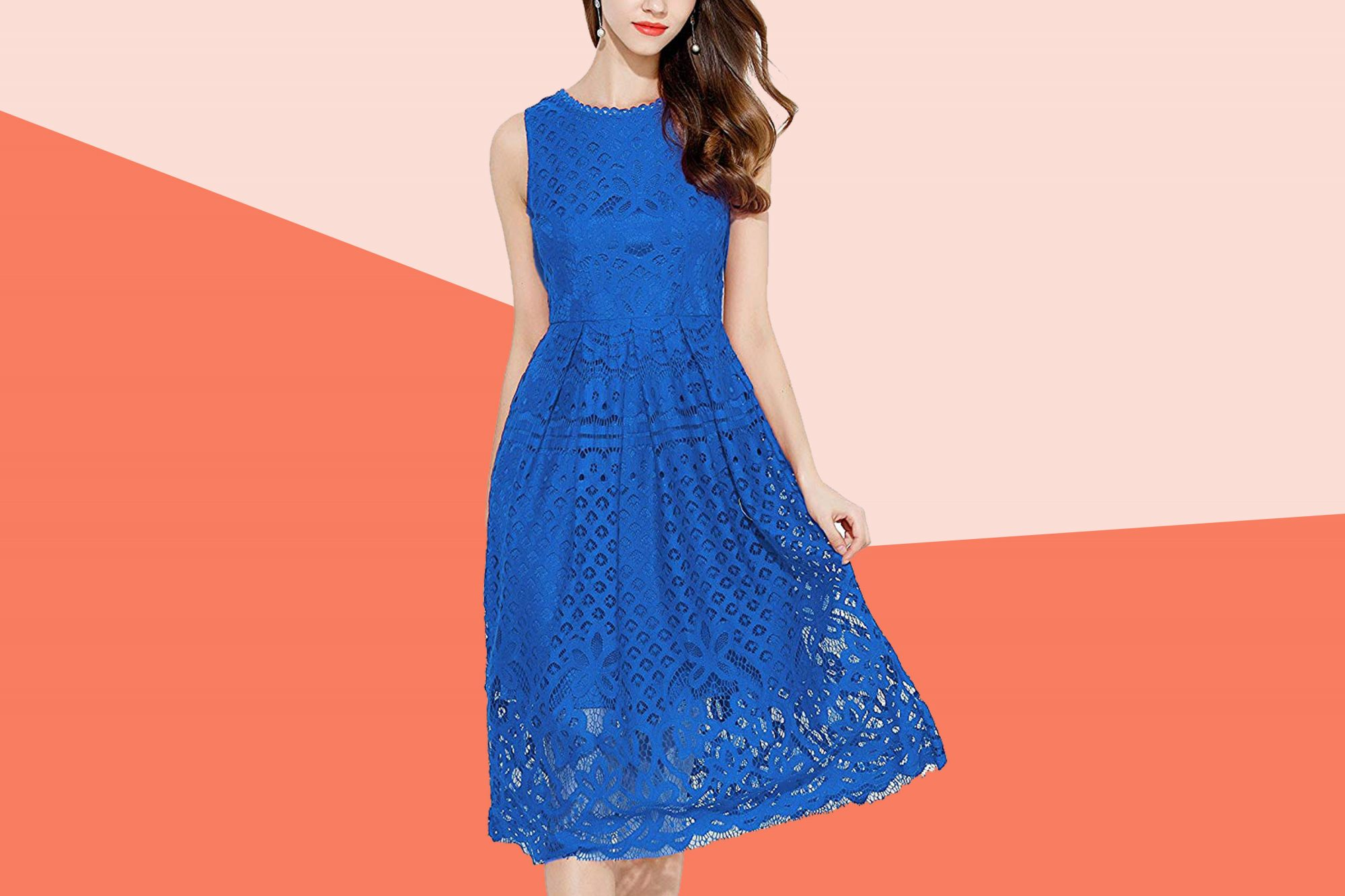Veiisar Lace Fit and Flare Cocktail Dress