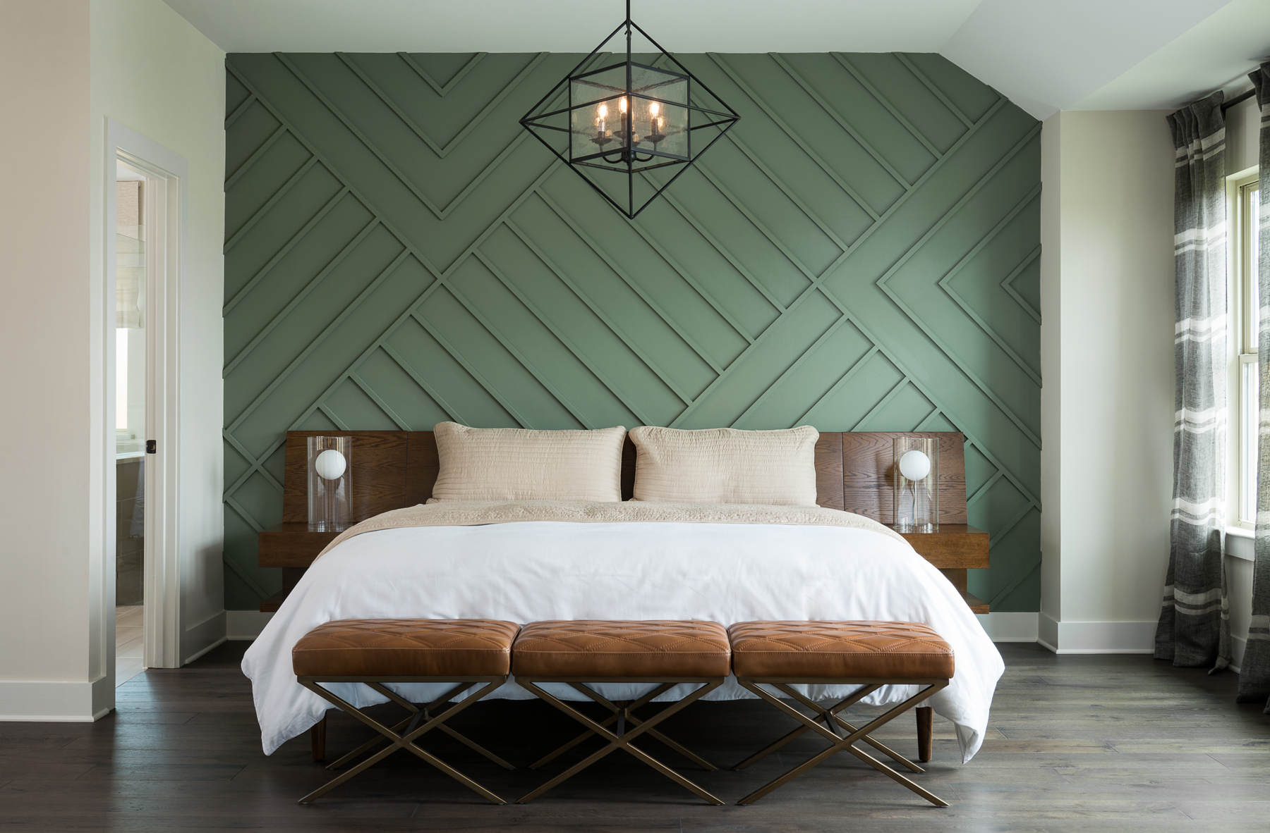 Board and batten interior ideas - green bedroom accent wall