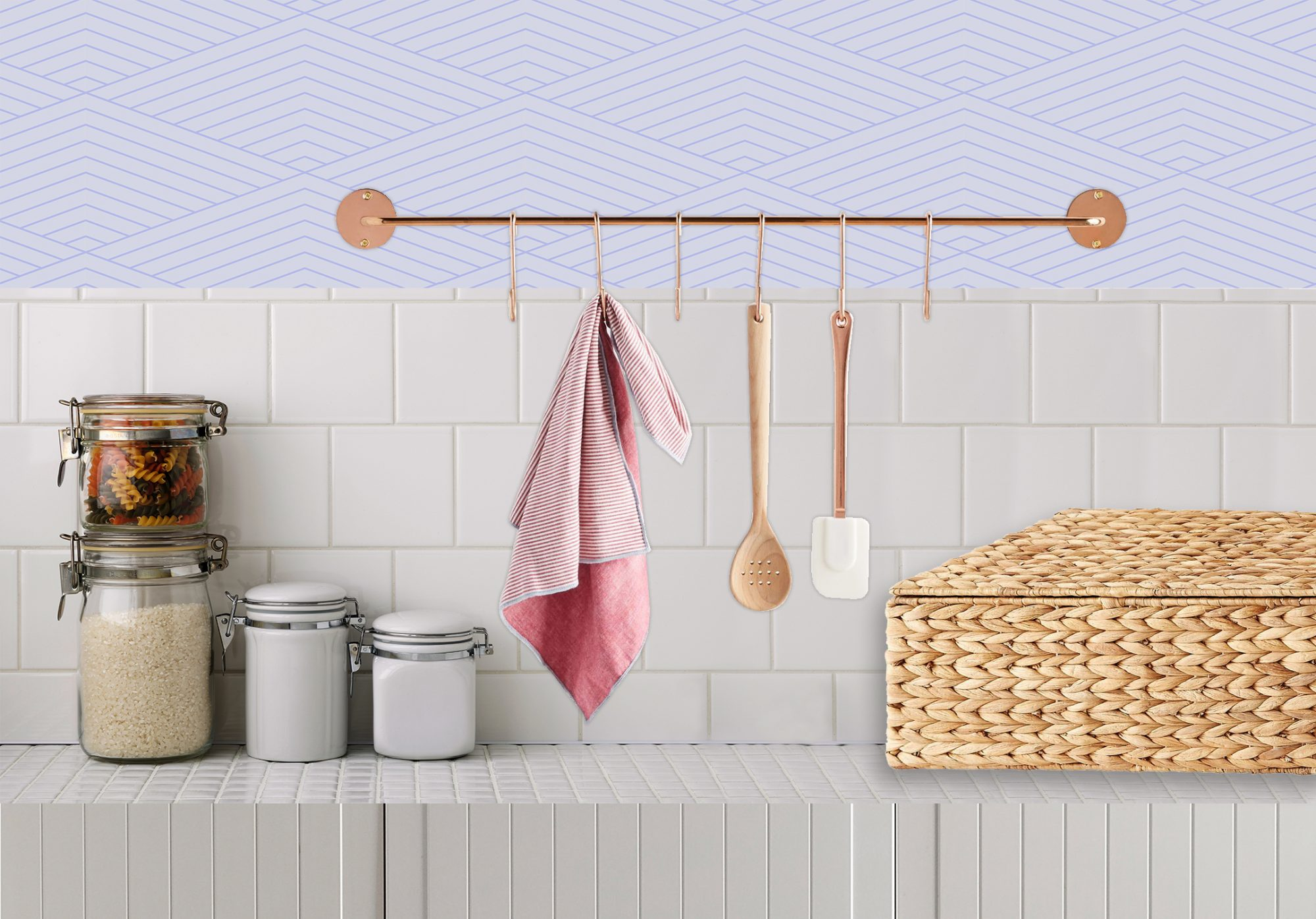 Kitchen Counter Organization Ideas, Hooks for dish towels and pots and pans in kitchen