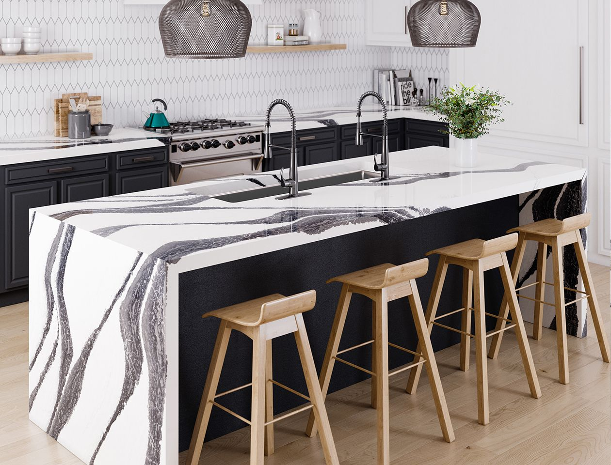 Kitchen Countertop Ideas, Cambria Surfaces black and white kitchen island